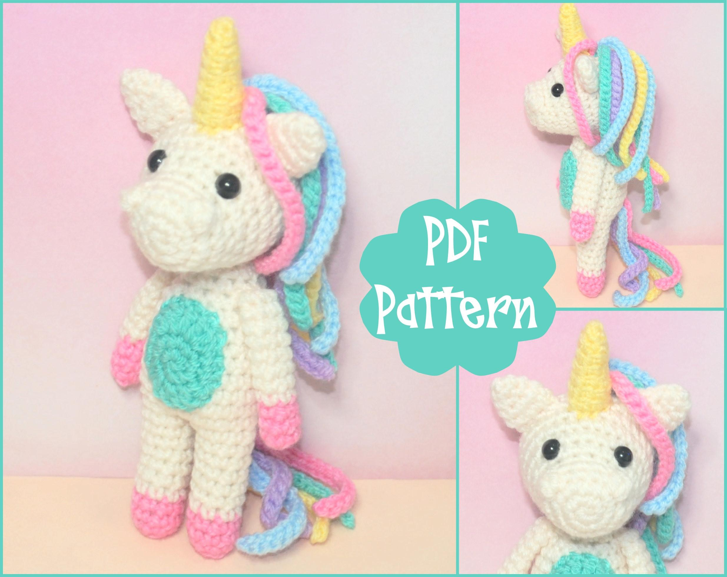 Pdf Mini Unicorn Crochet Pattern Amigurumi