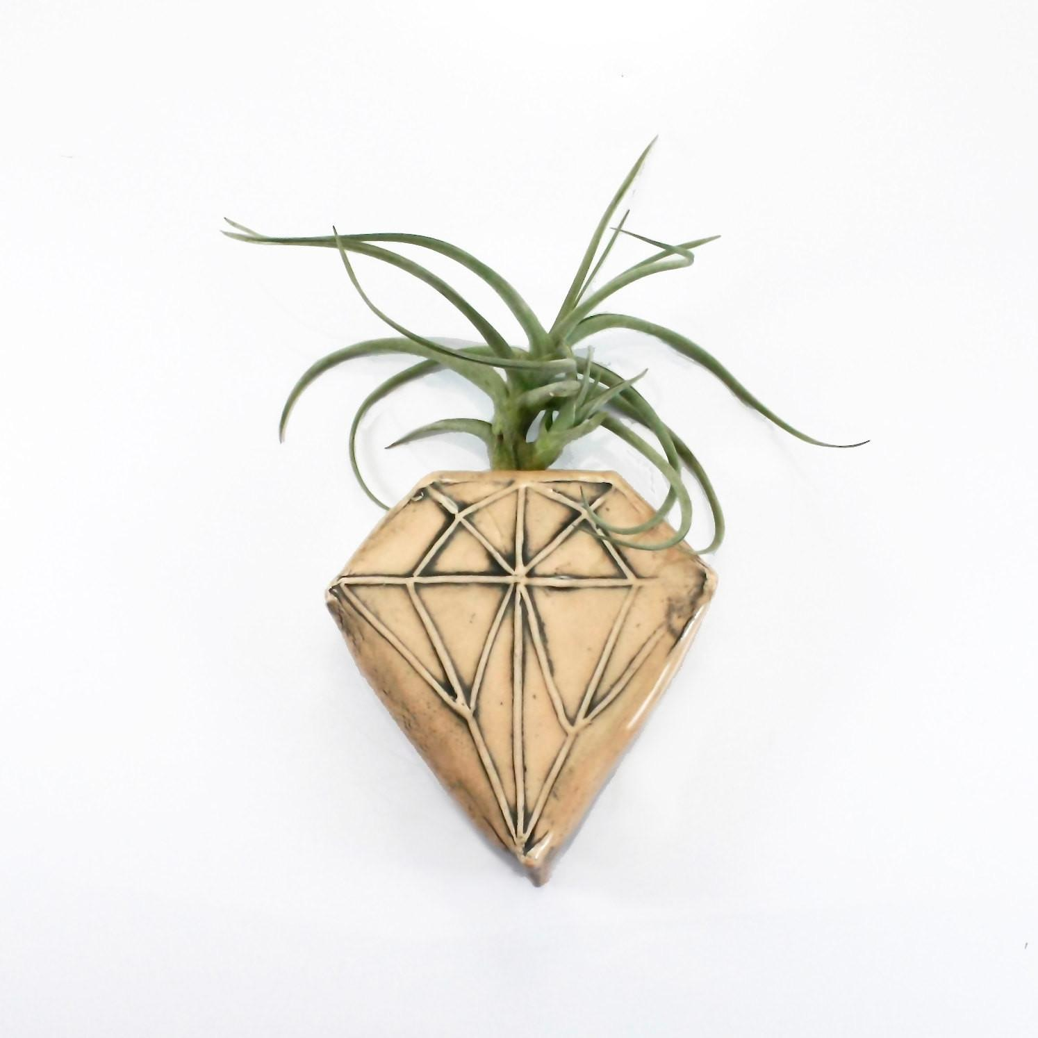 Peach Diamond Geometric Magnetic Clay Bud Vase Wall