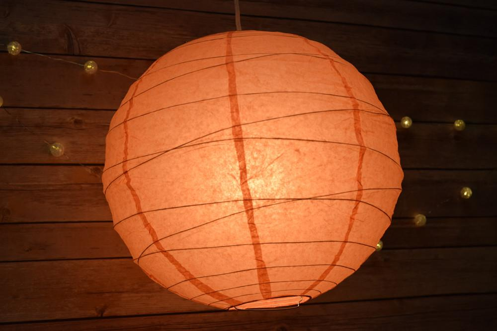 Peach Orange Coral Round Paper Lantern Crisscross