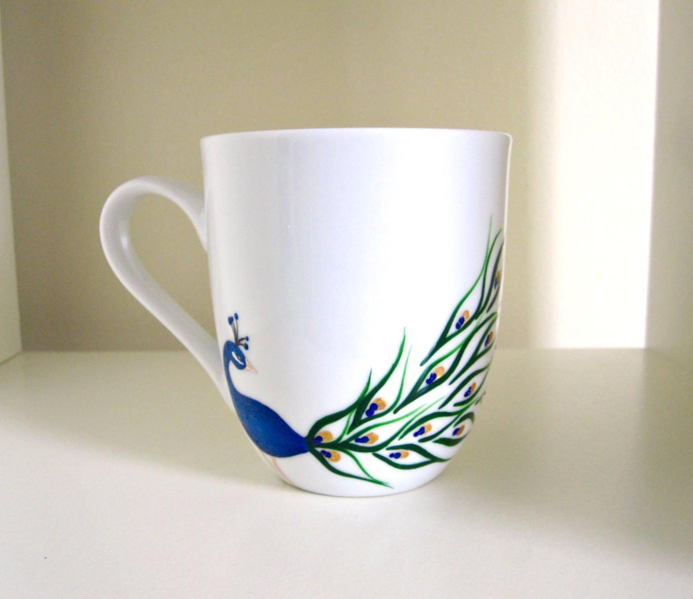 Peacock Coffee Cup Hand Painted Porcelain Mug Meku Etsy