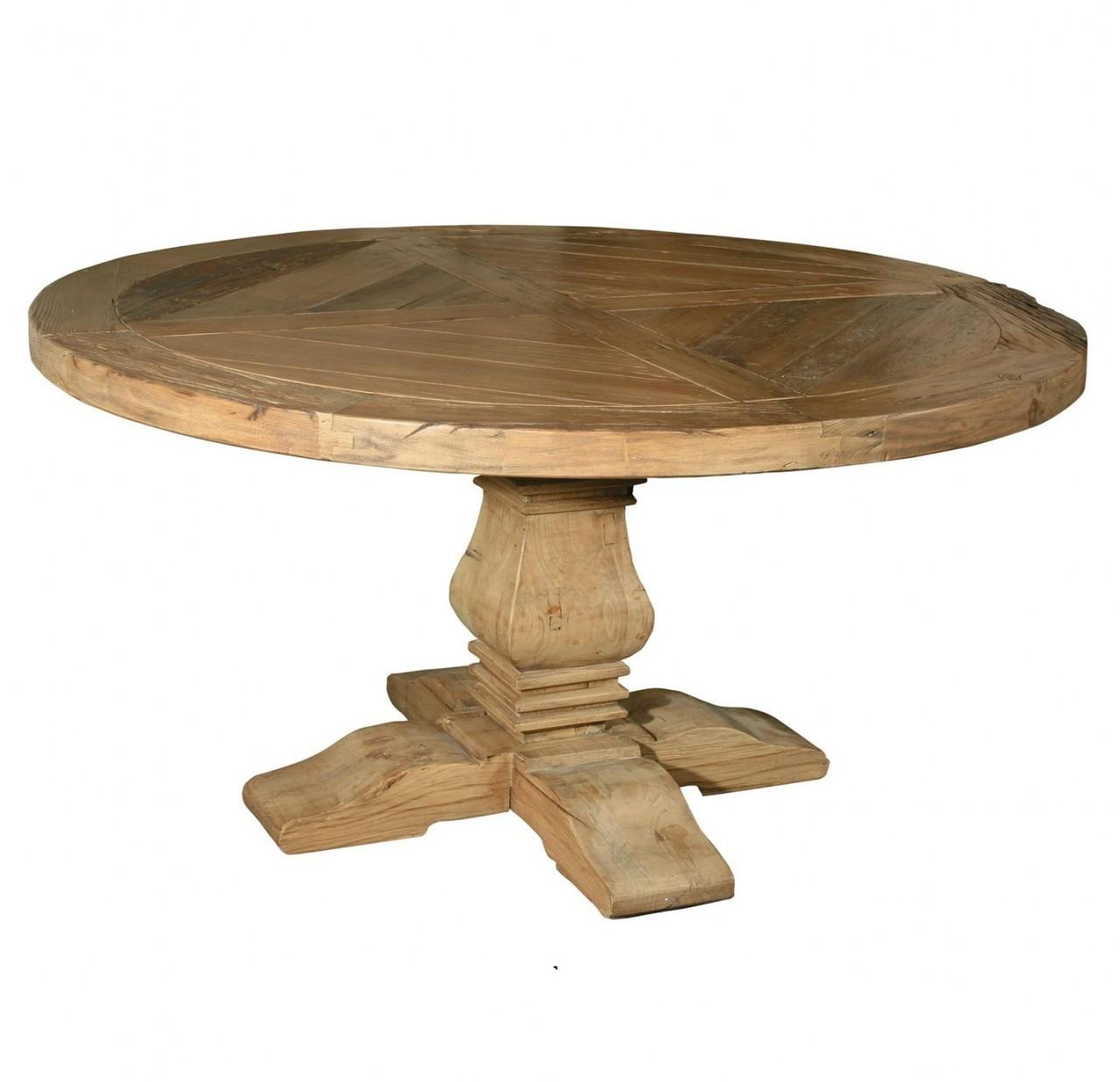 Pedestal Round Dining Table Reclaimed Wood