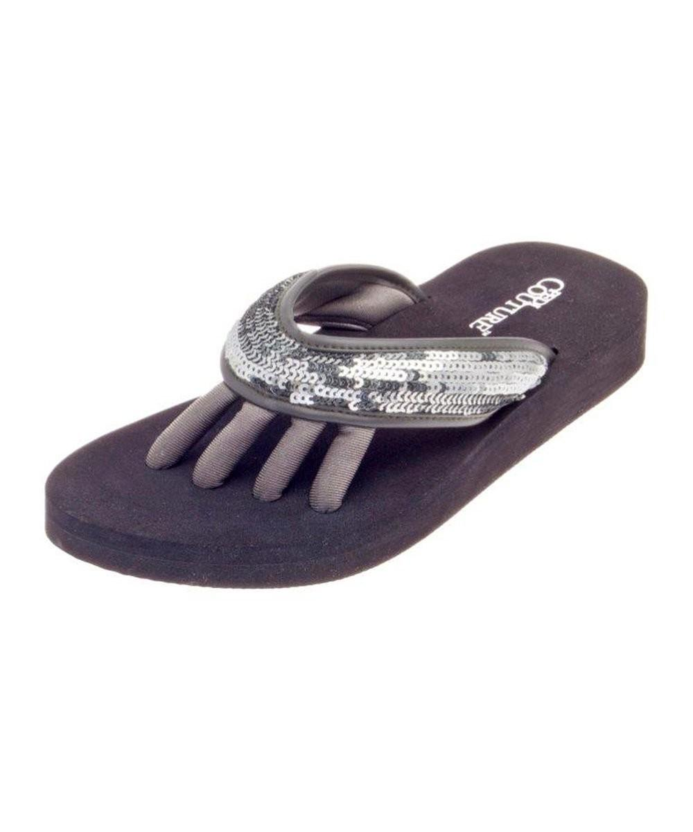 Pedi Couture Pewter Glam Flip Flop Zulily