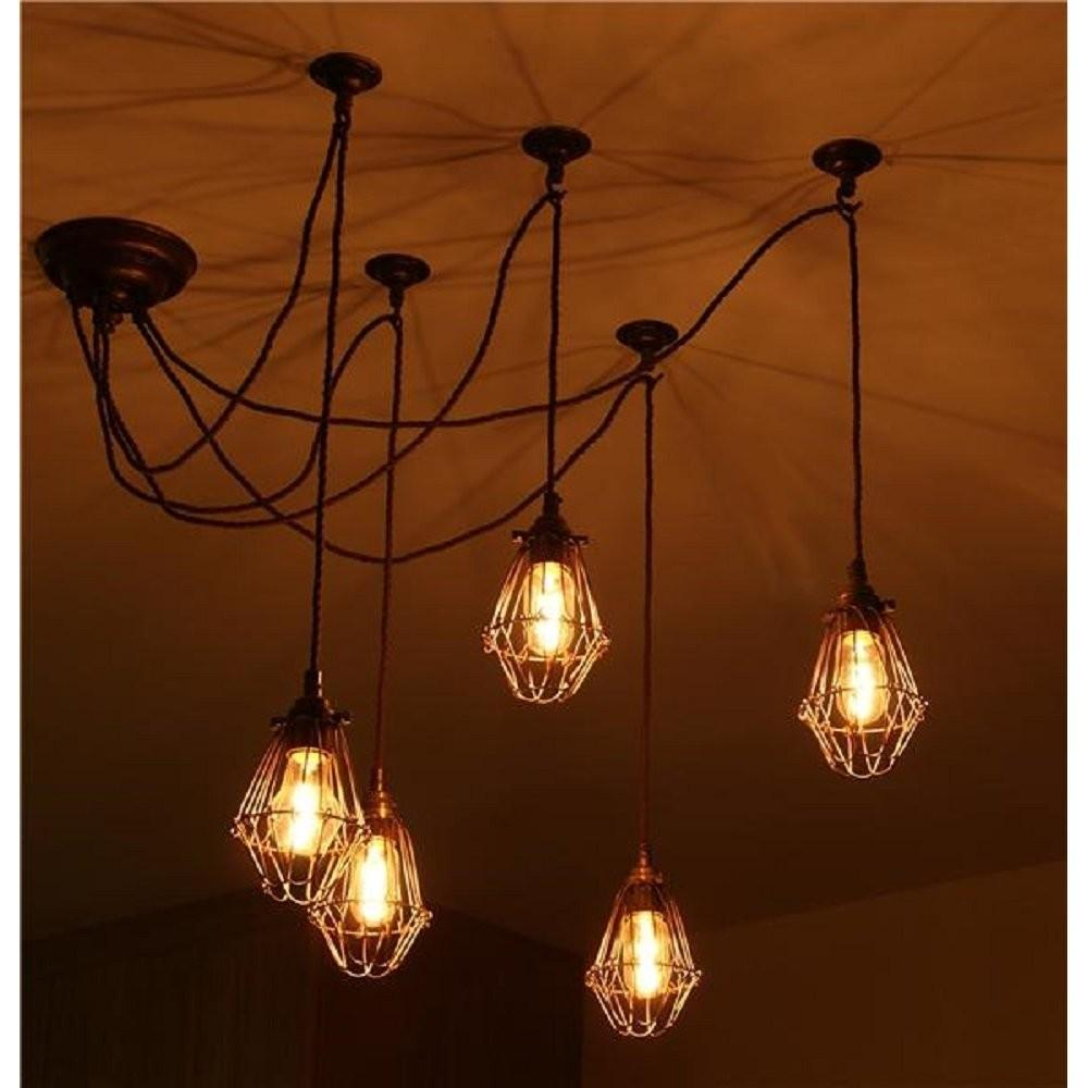Pendant Cluster Ceiling Light Industrial Style Cage
