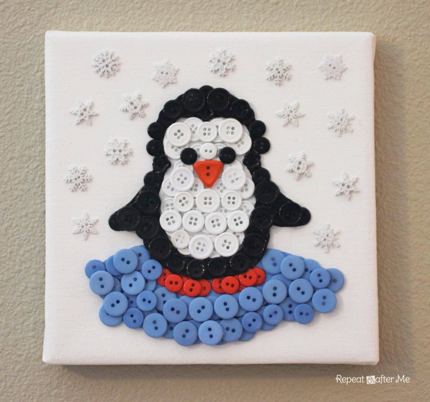 Penguin Button Art Repeat Crafter