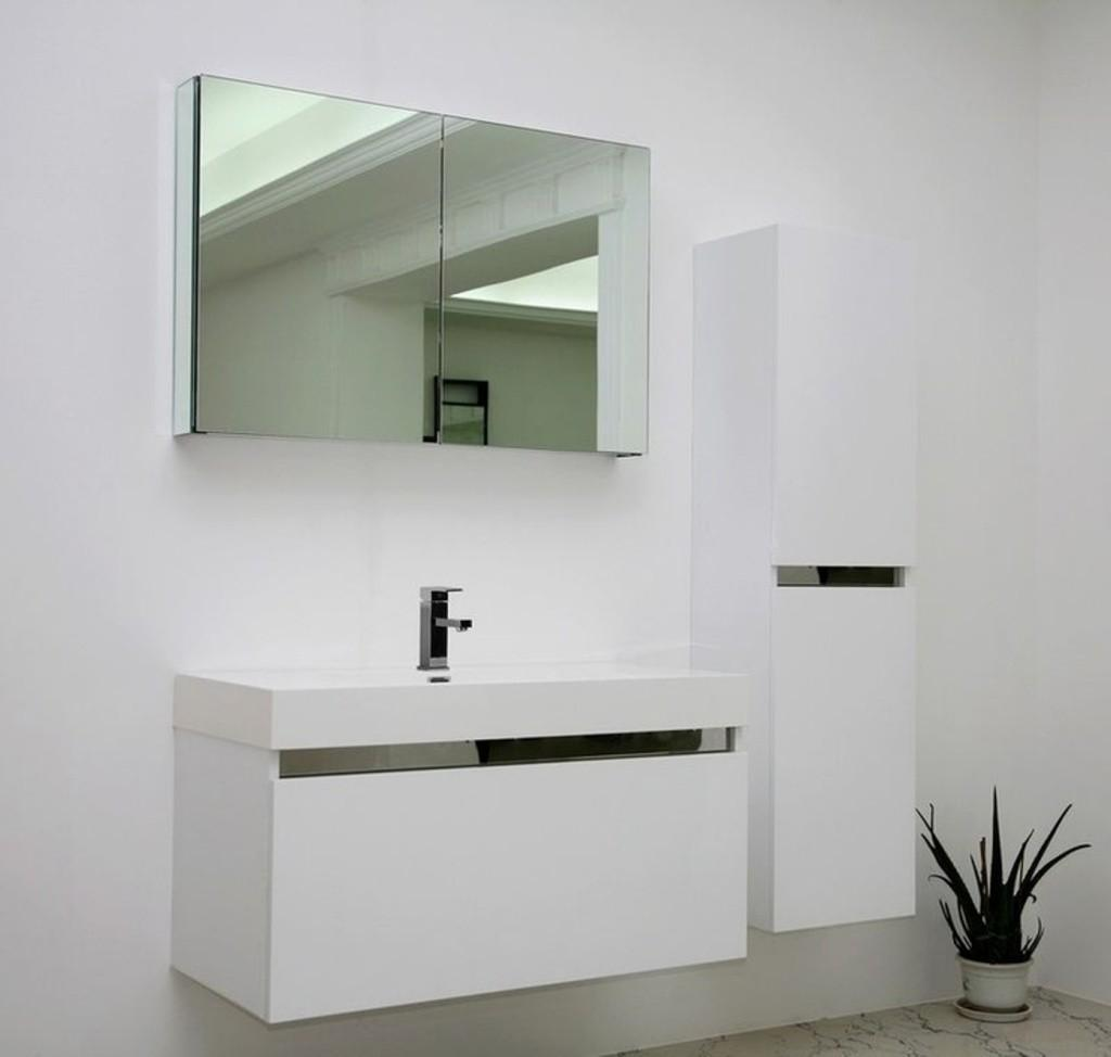 Perfect Mirrored Cabinet White Vanity Small