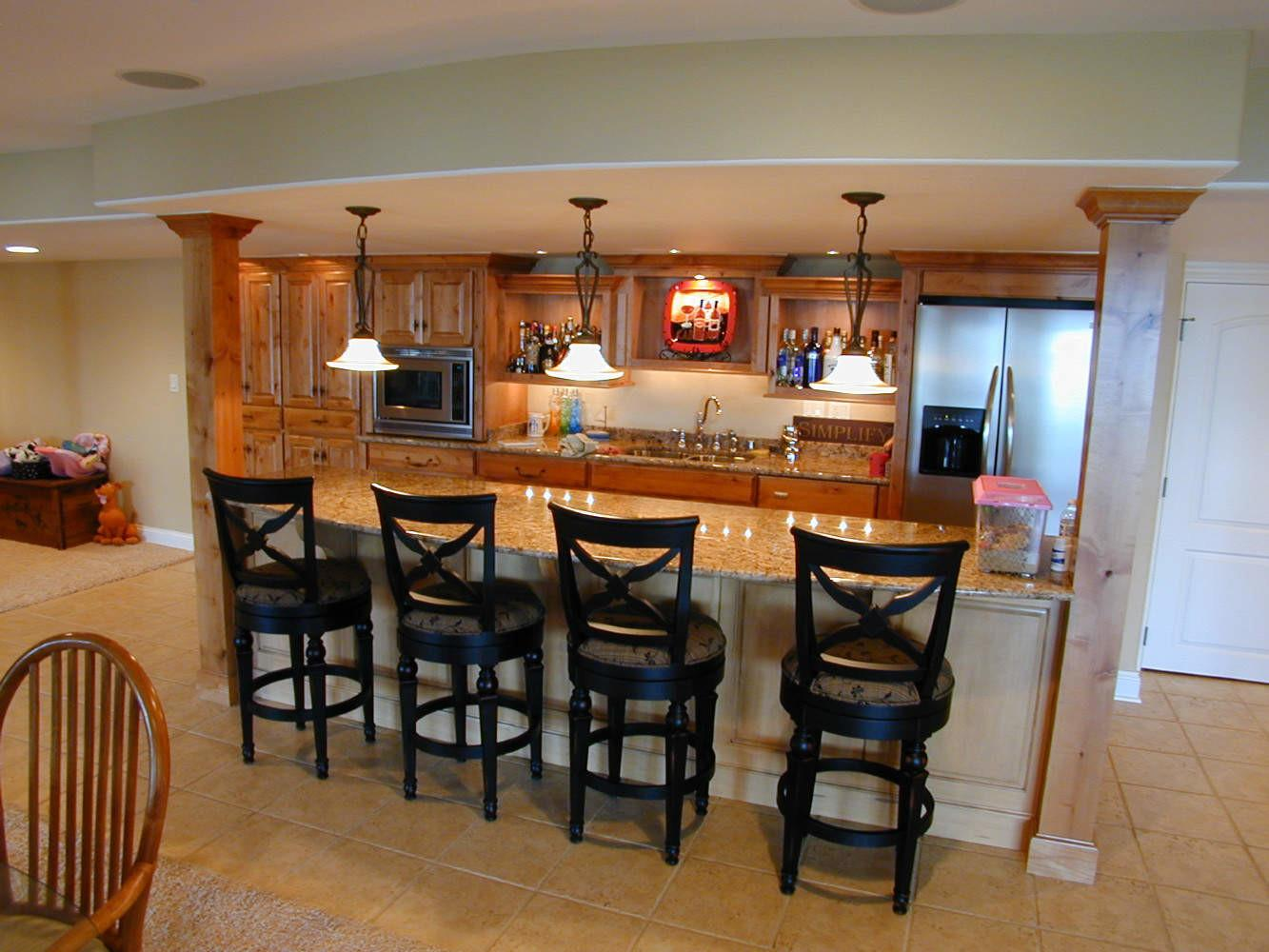 Personable Home Basement Bar Designs Idea Feat Wooden