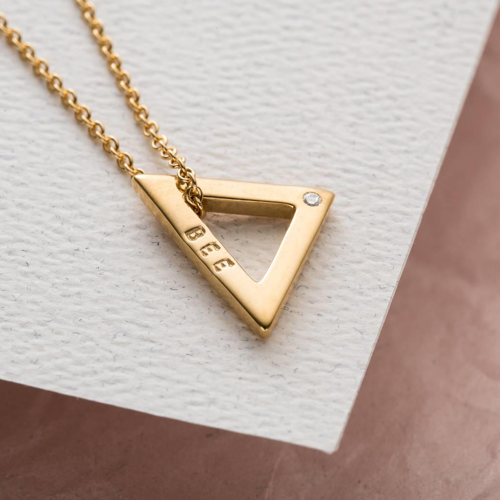 Personalised Diamond Mini Geometric Necklace Posh Totty