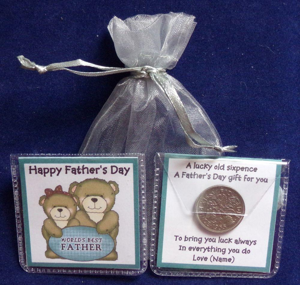 Personalised Fathers Day Lucky Sixpence Keepsake Gift