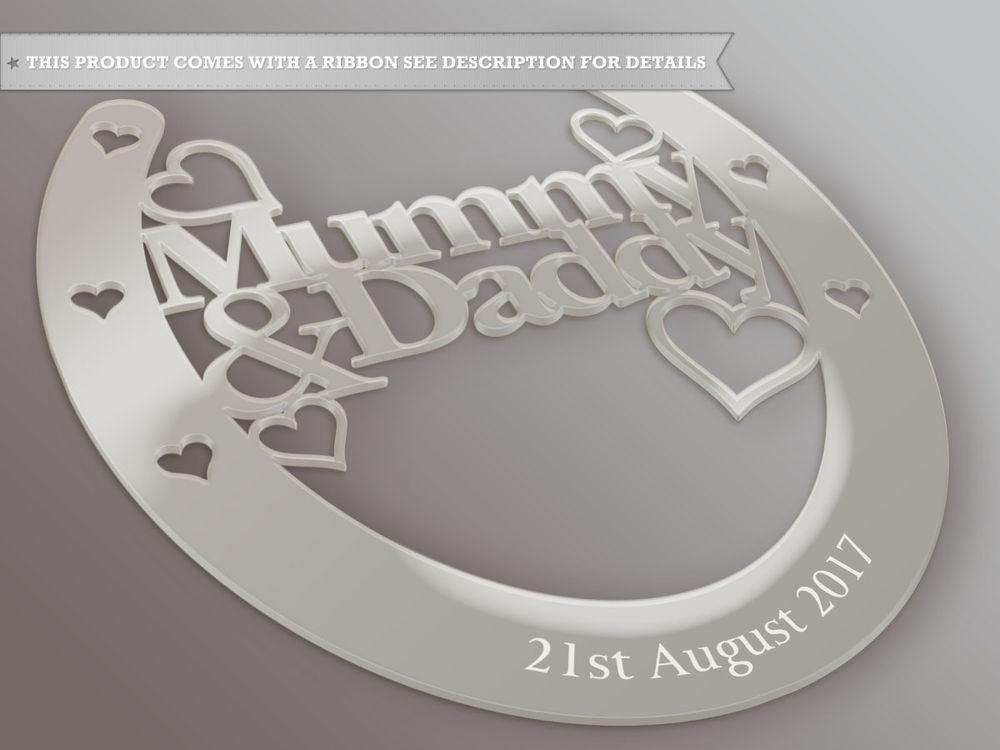 Personalised Mummy Daddy Good Luck Horseshoe Bridal