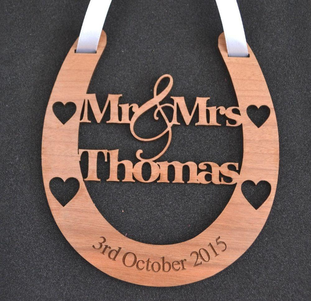Personalised Wooden Wedding Mrs Good Luck Horseshoe
