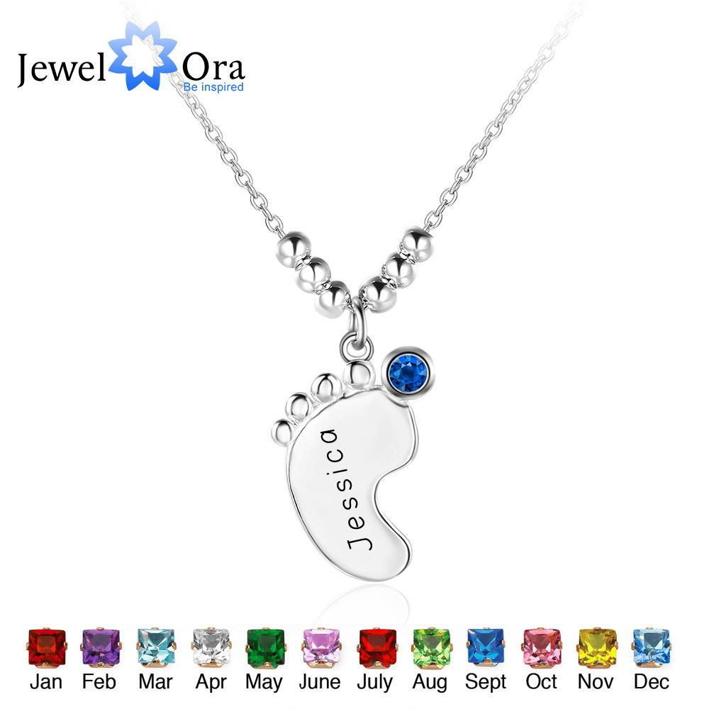 Personalized 925 Sterling Silver Birthstone Little Feet