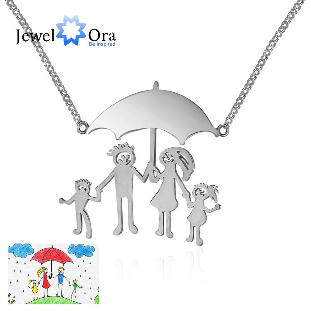 Personalized 925 Sterling Silver Loving Family Drawing