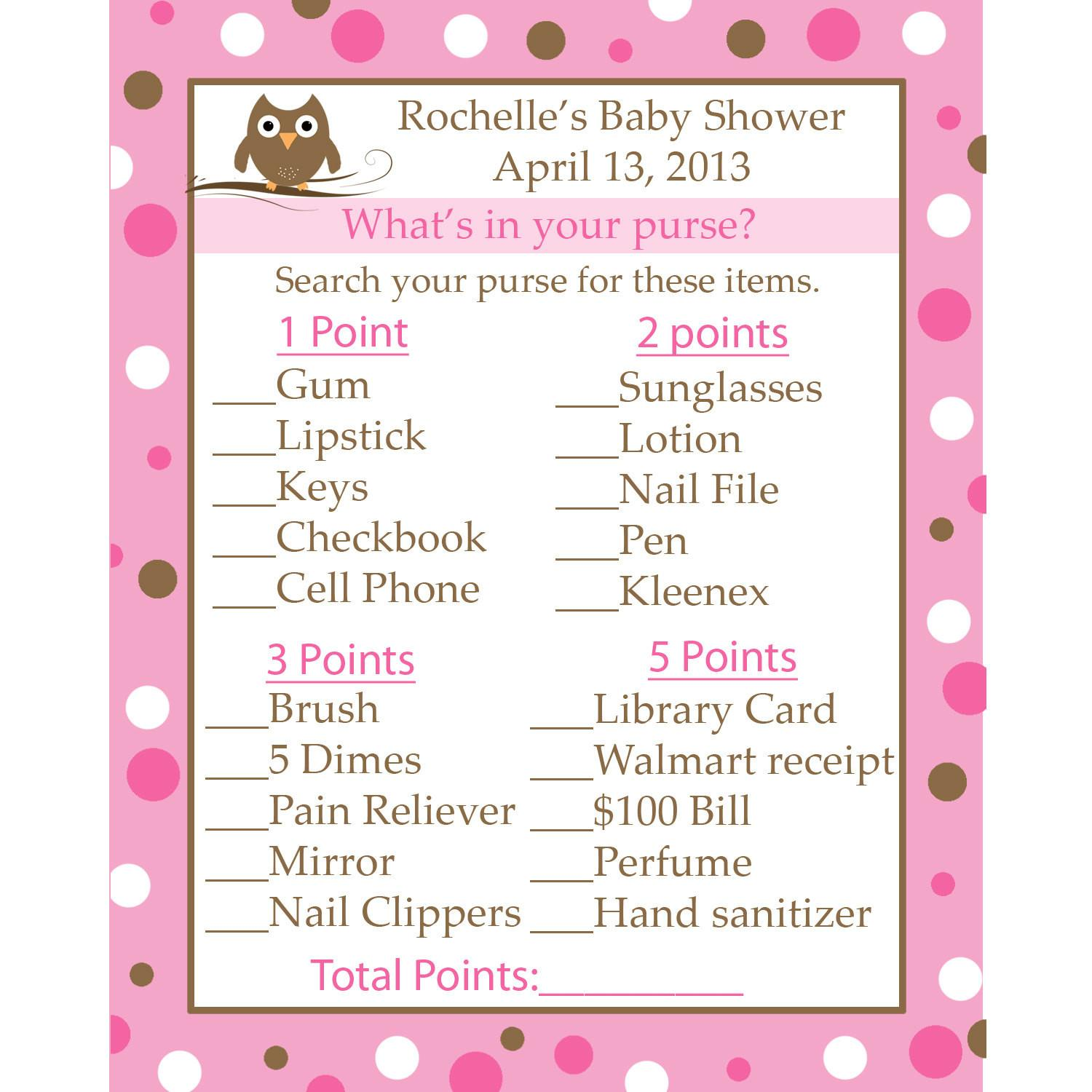 Personalized Baby Shower Game Cards Your