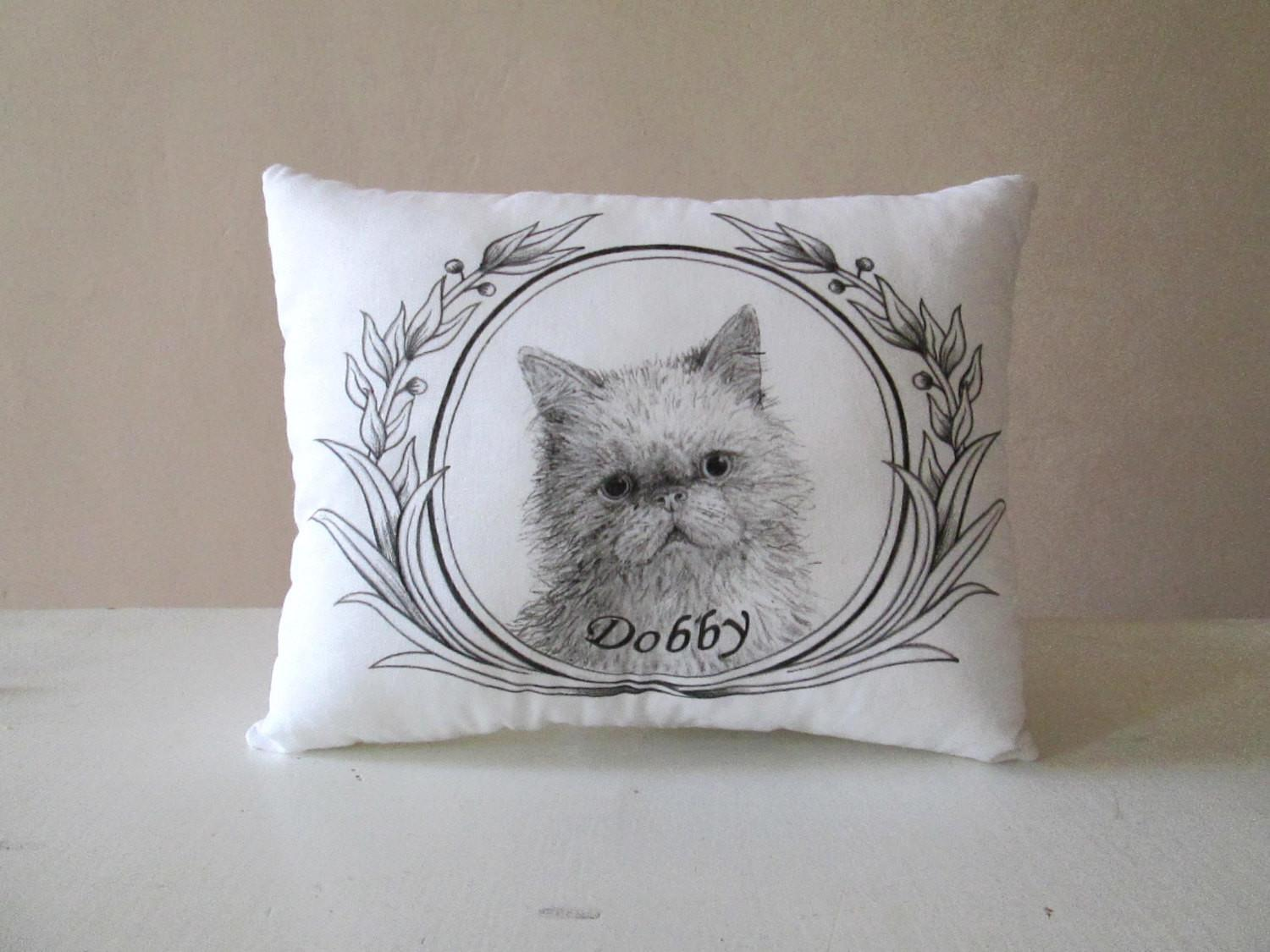 Personalized Cat Portrait Pillow Gift Idea Cats Lovers