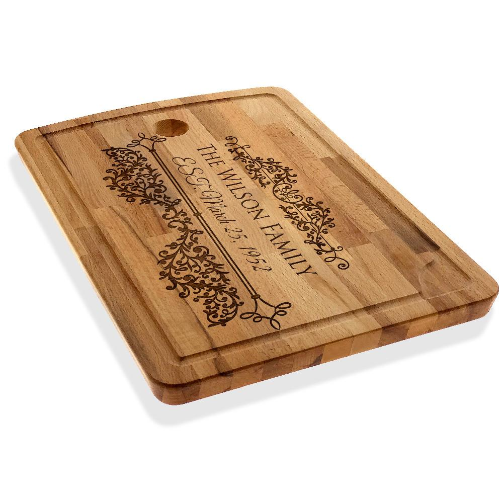 Personalized Cutting Chopping Board Family Name Cheese