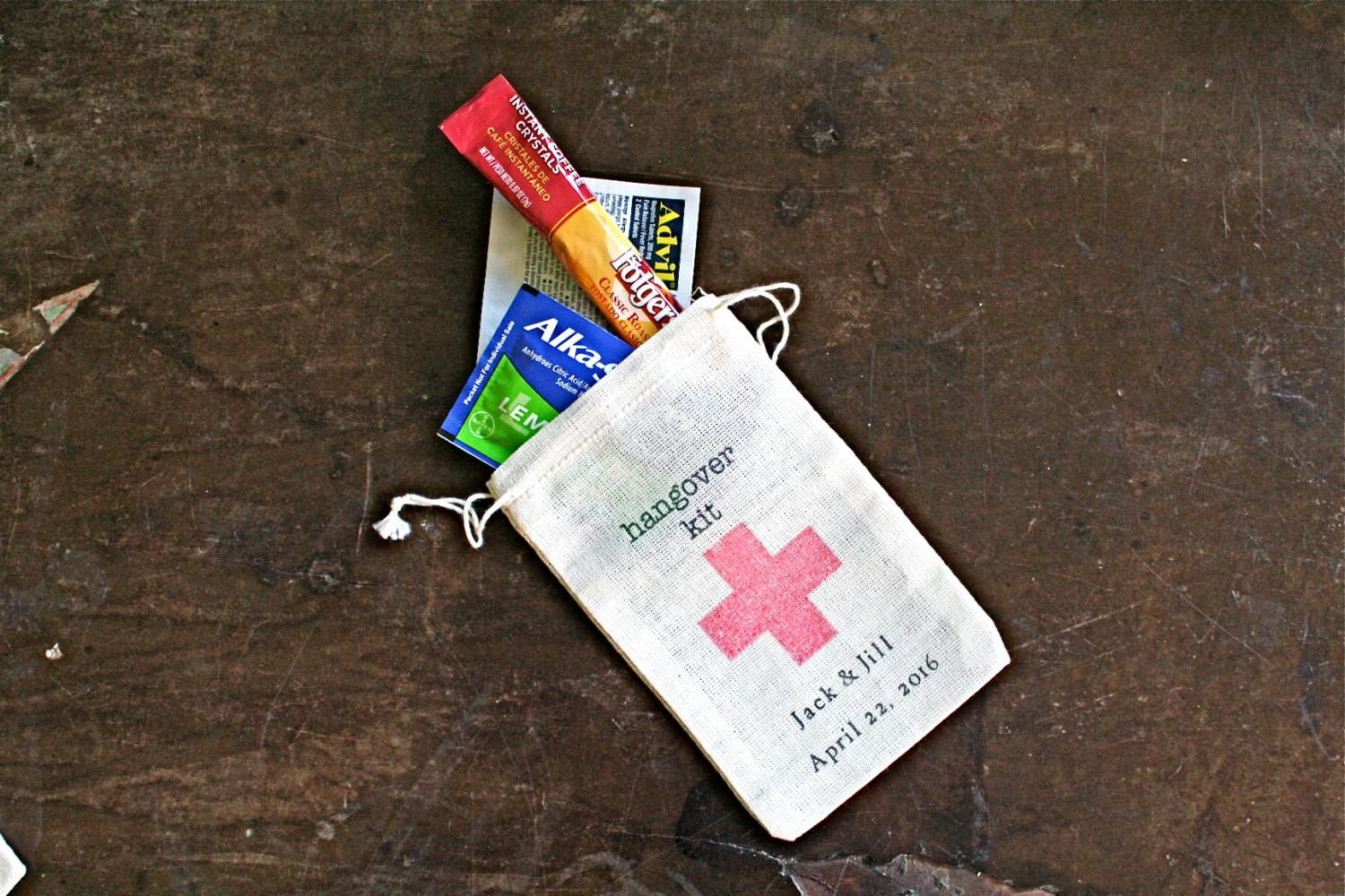 Personalized Diy Hangover Kit First Aid Wedding Guests