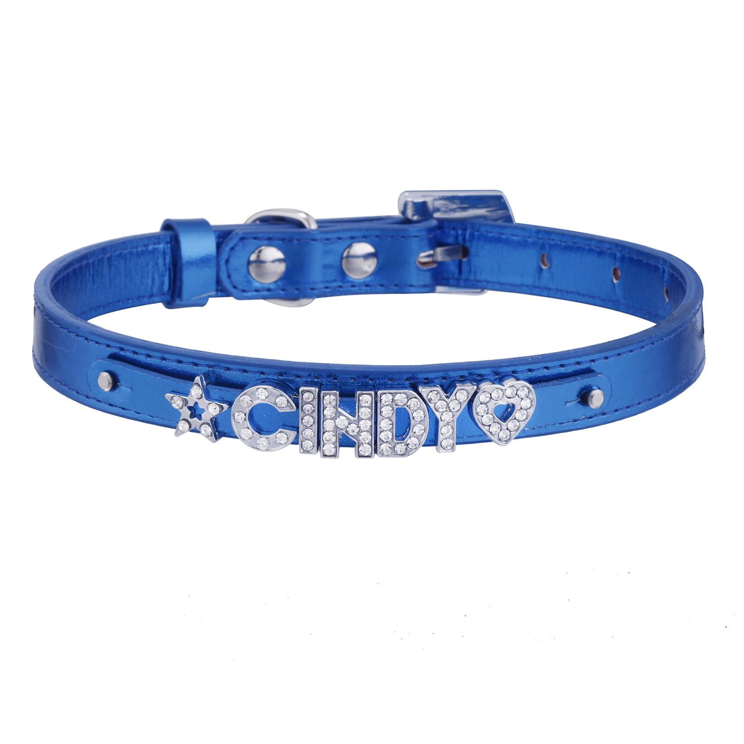 Personalized Diy Leather Pet Puppy Dog Cat Collar