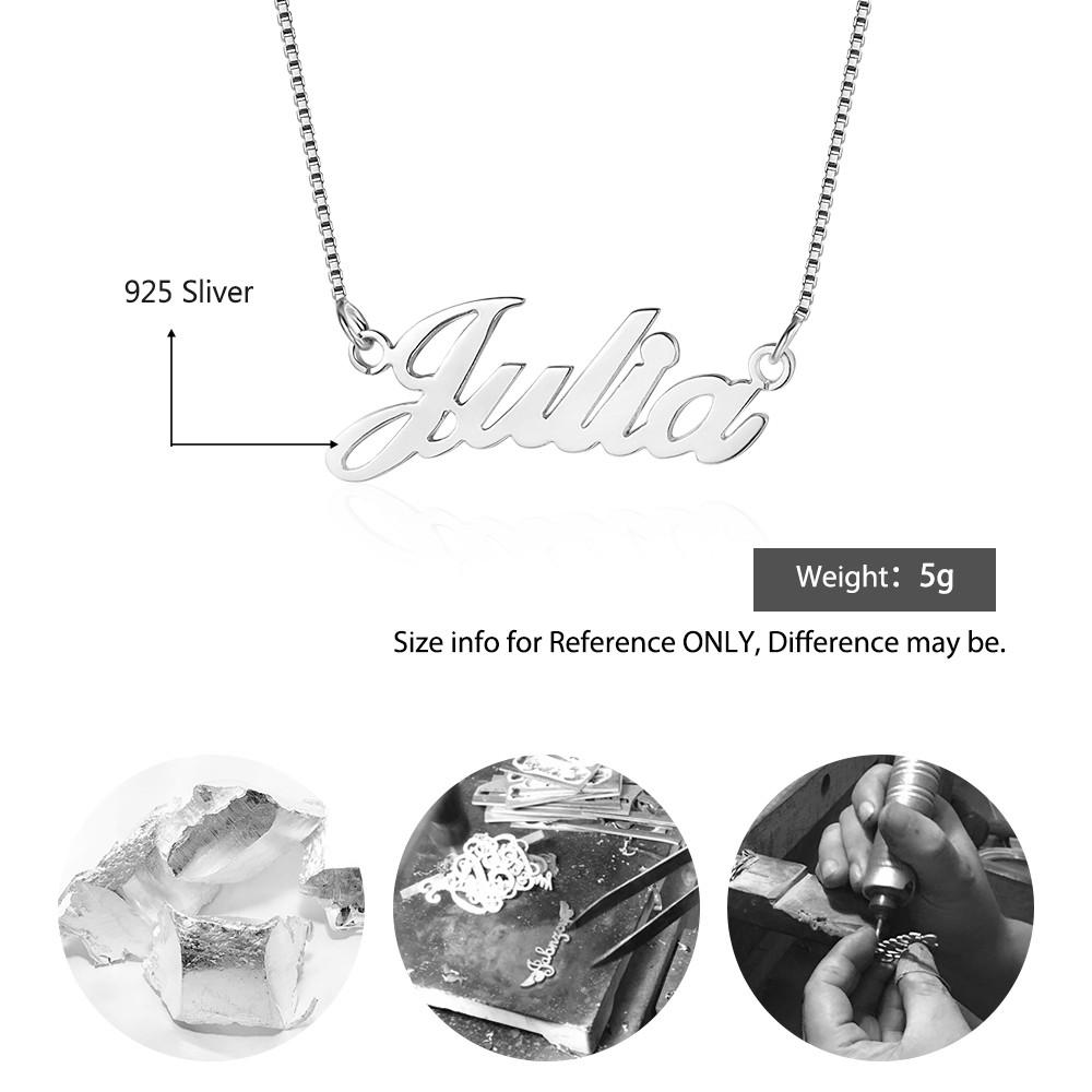 Personalized Diy Name Necklace 925 Sterling Silver Pendant