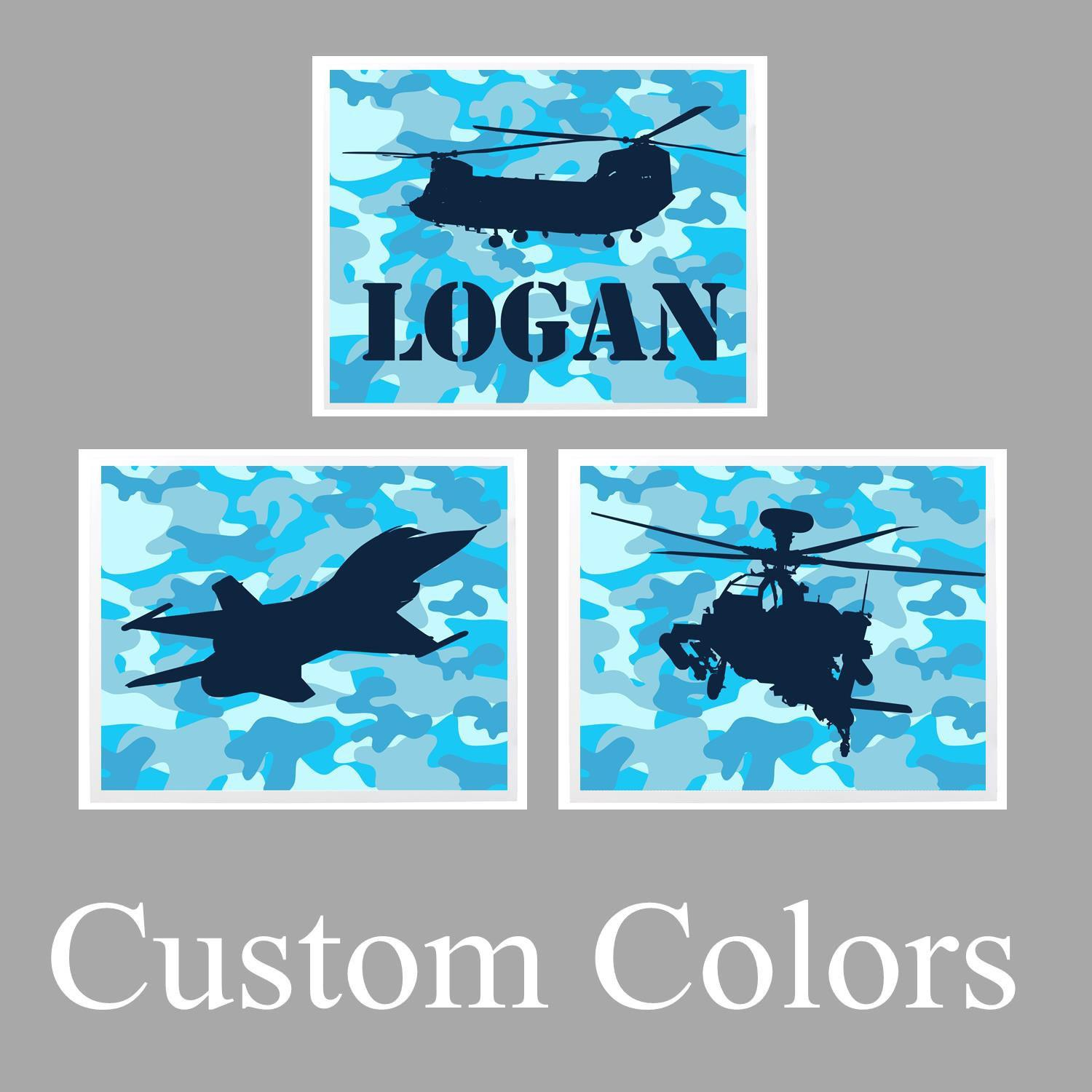 Personalized Military Wall Art Set Prints Canvas