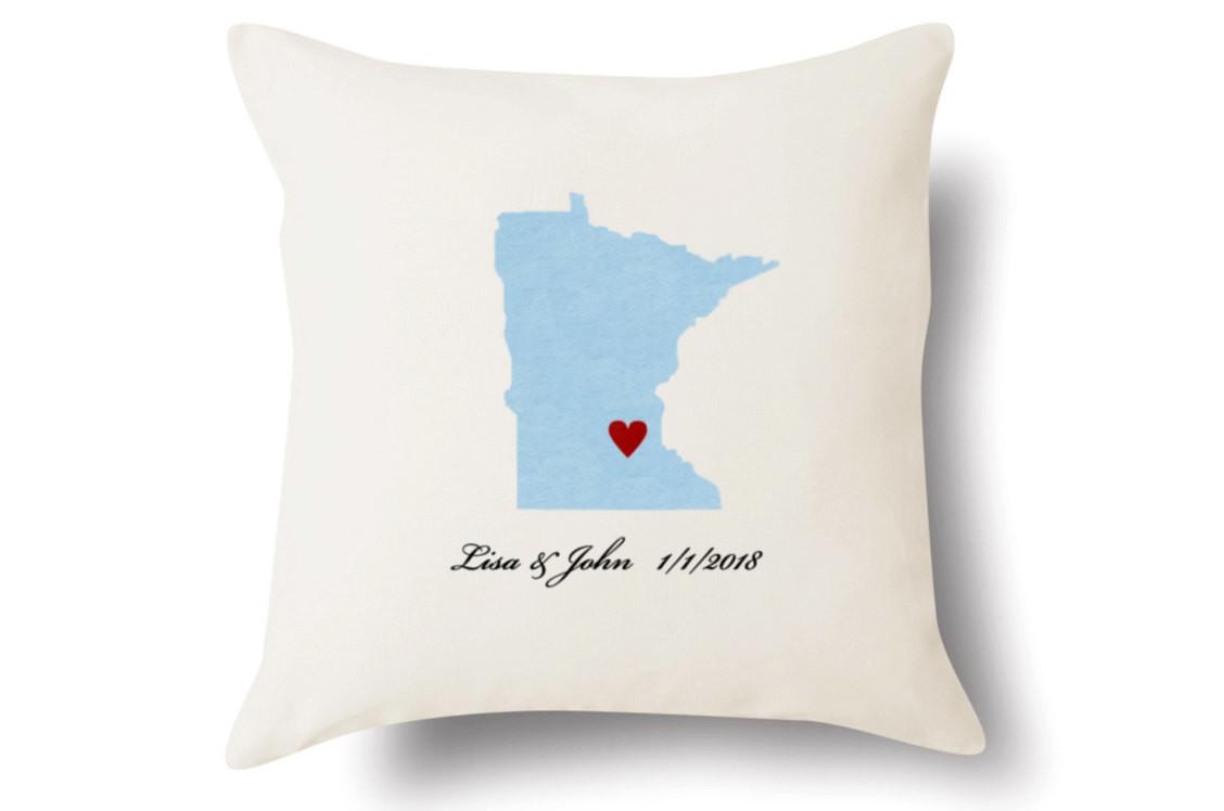Personalized Minnesota Pillow Text Embroidered White