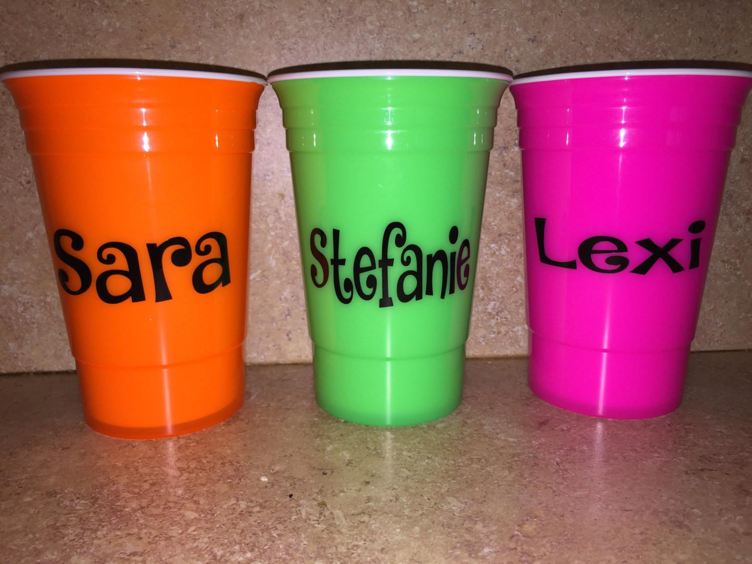 Personalized Neon Bachelorette Party Cups Solo