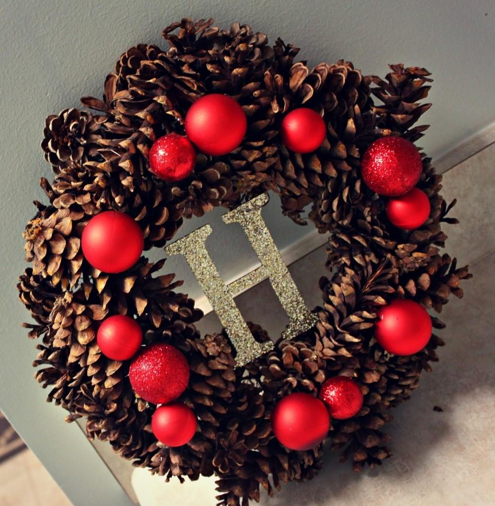 Personalized Pine Cone Christmas Wreath