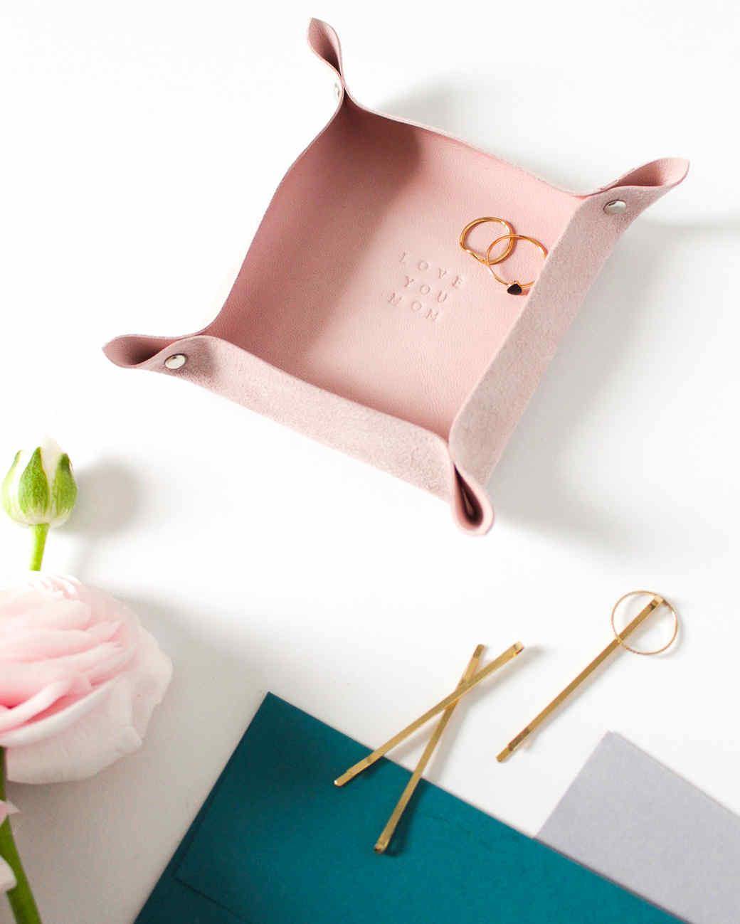 Personalized Pink Leather Valet Tray Martha Stewart