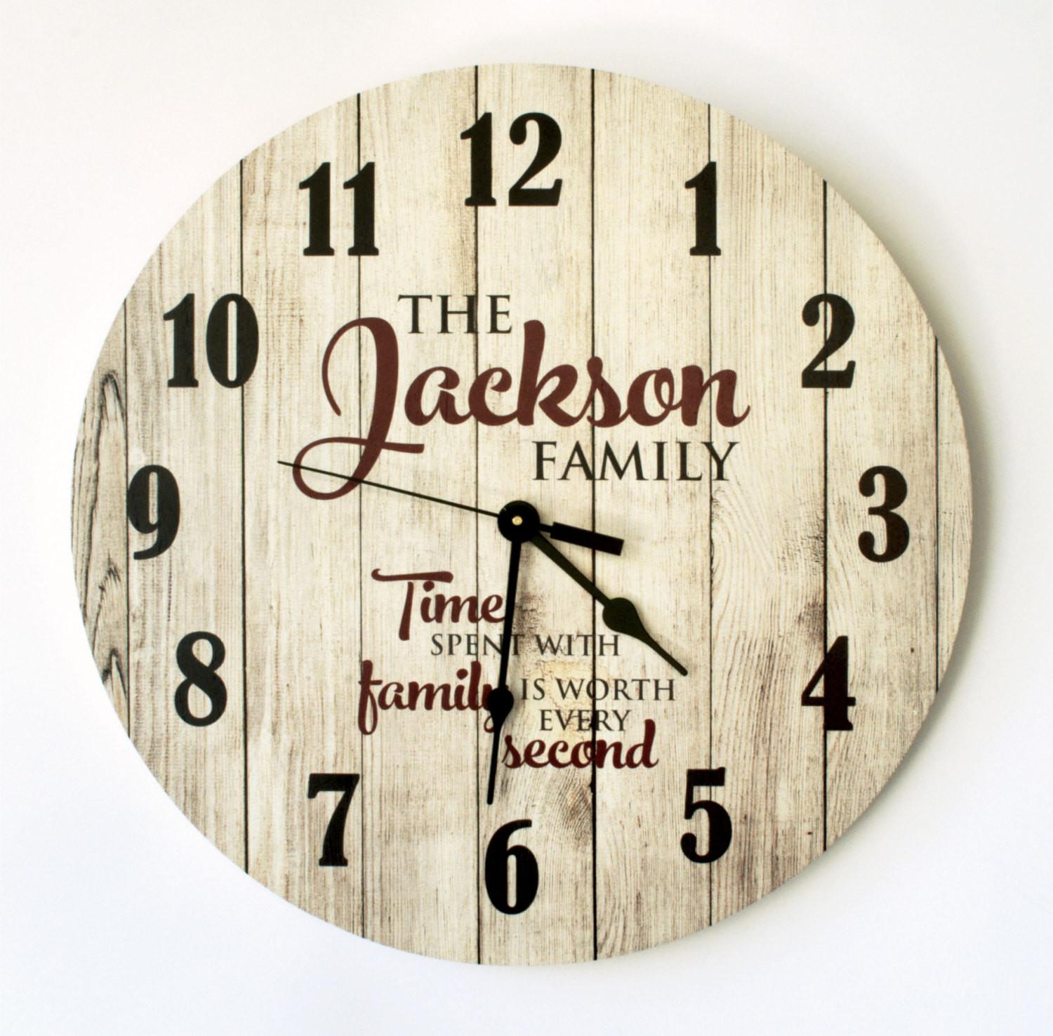 Personalized Rustic Clock Inch Diameter Mrc Wood