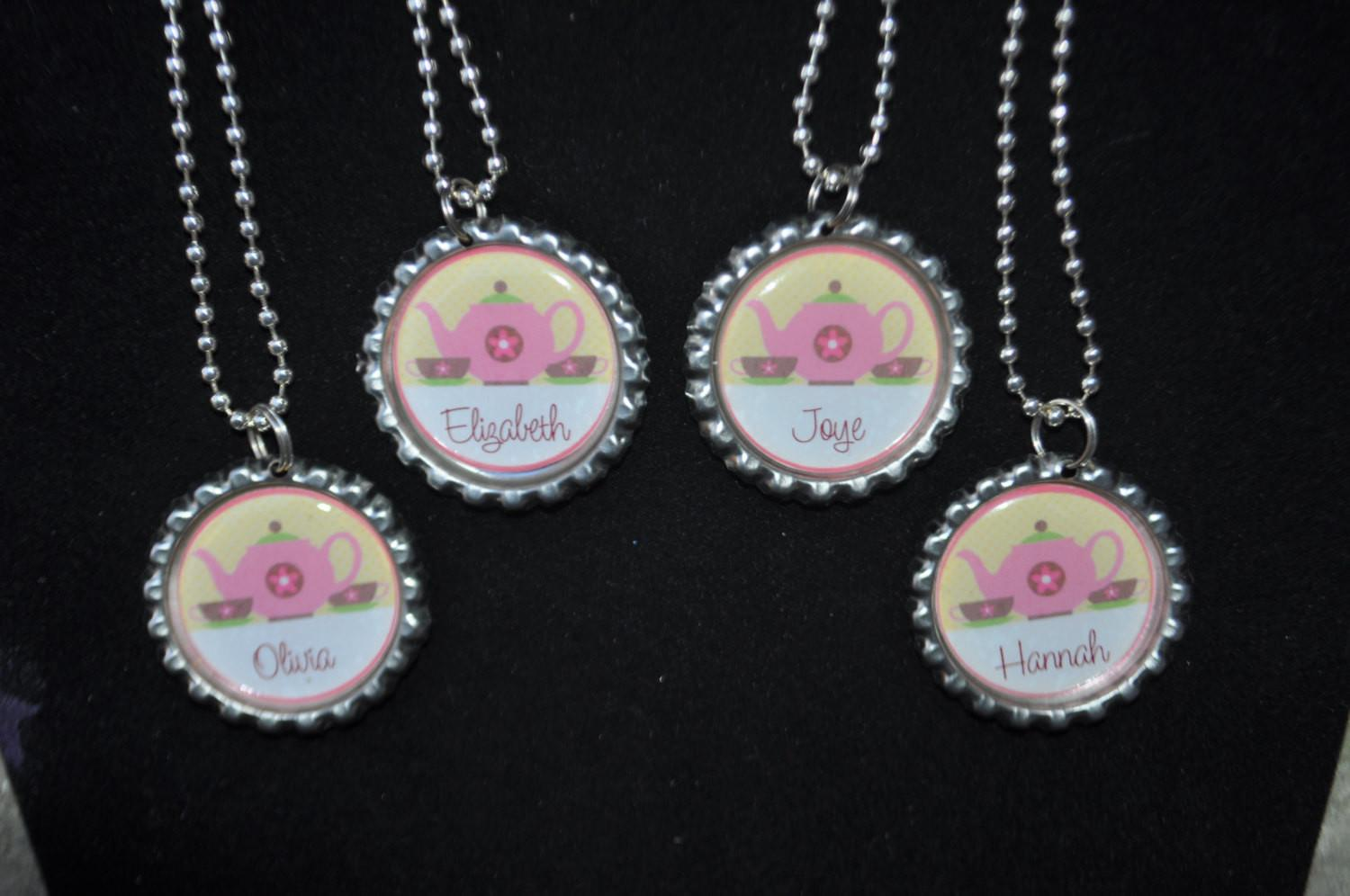 Personalized Tea Party Necklaces Finished Necklace Diy