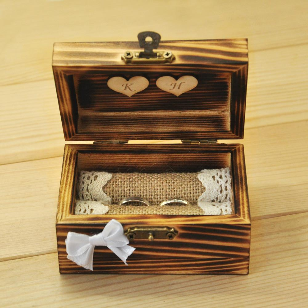Personalized Wedding Ring Box Rustic Bearer Wooden