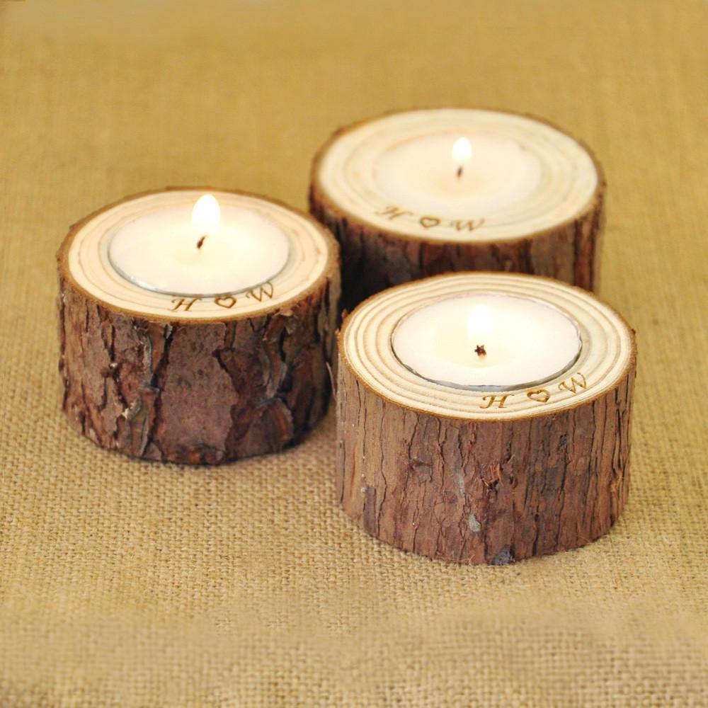 Personalized Wood Candle Holders Home Decoration Rustic