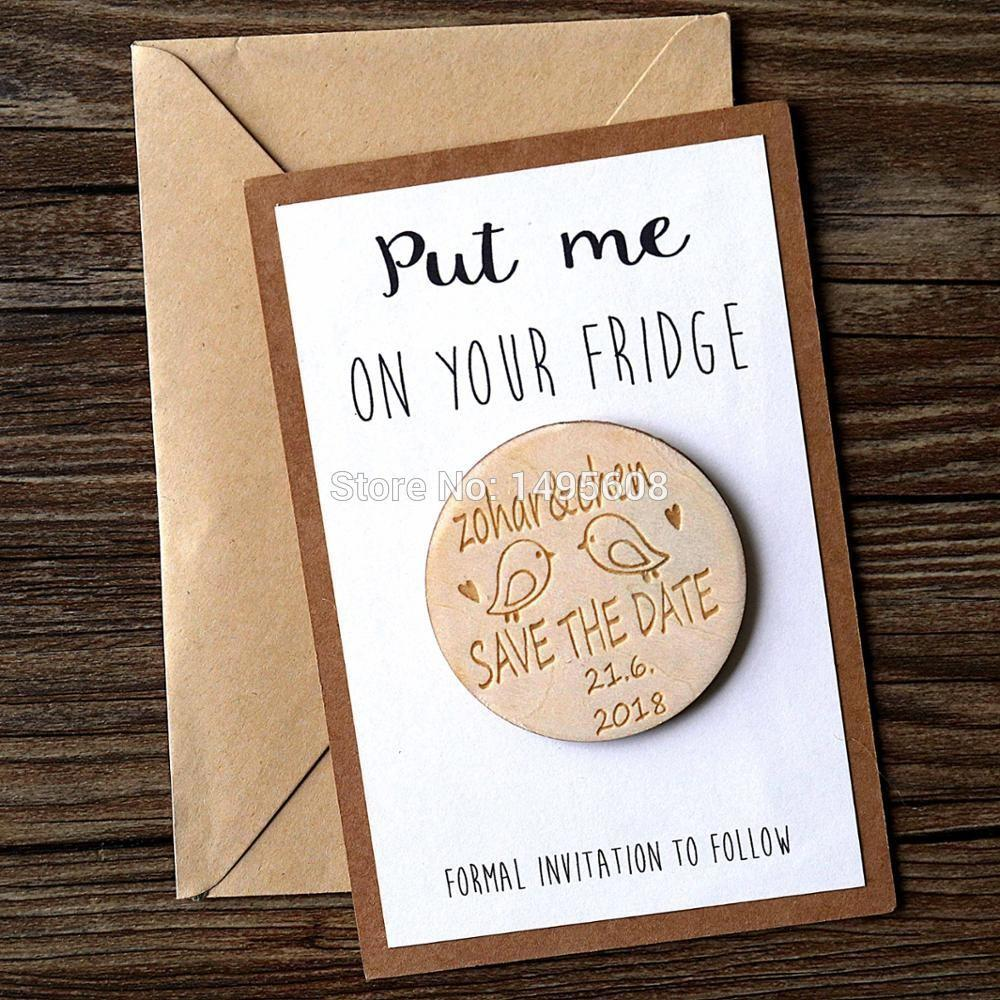 Personalized Wooden Save Date Magnets Rustic
