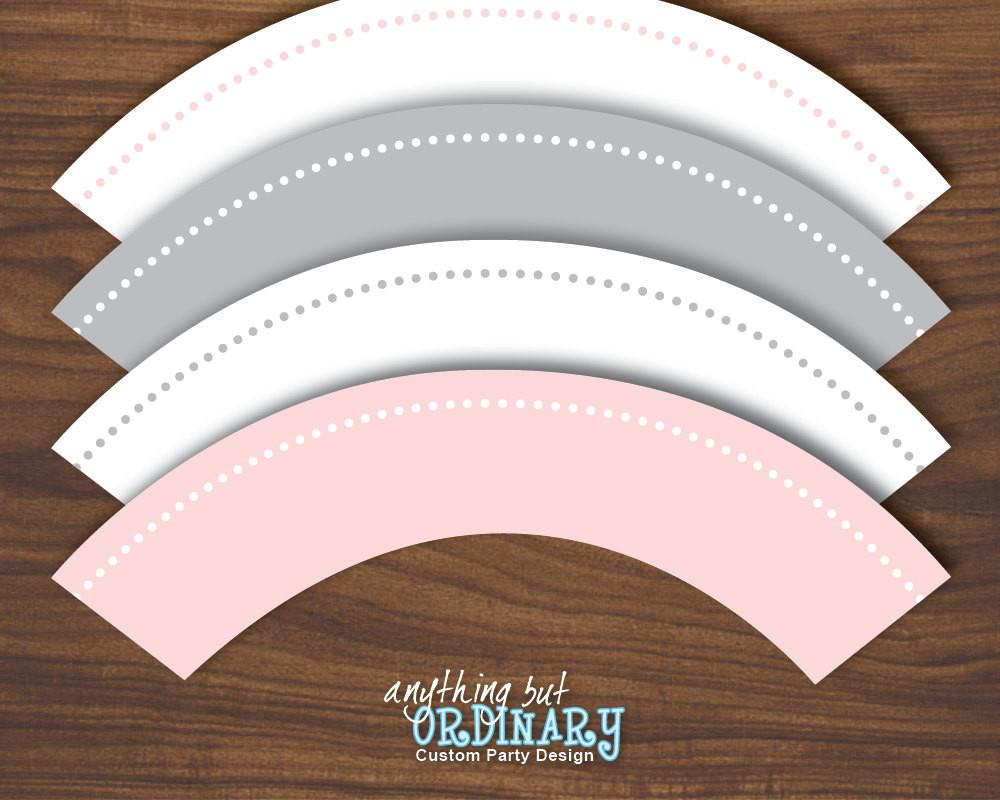 Peter Rabbit Diy Cupcake Wrappers Pink Gray Instant