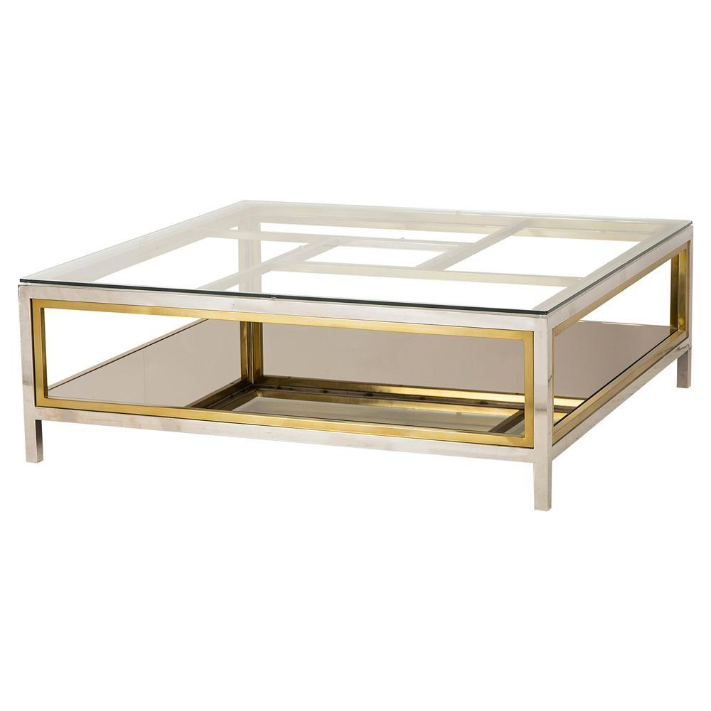 Phila Regency Glass Silver Gold Coffee Table Kathy Kuo Home