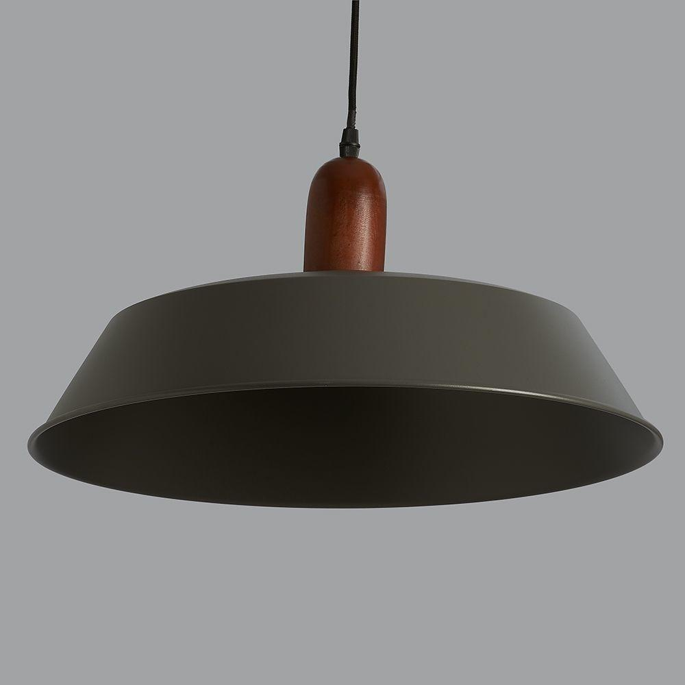 Phineas Dark Grey Wood Pendant Light