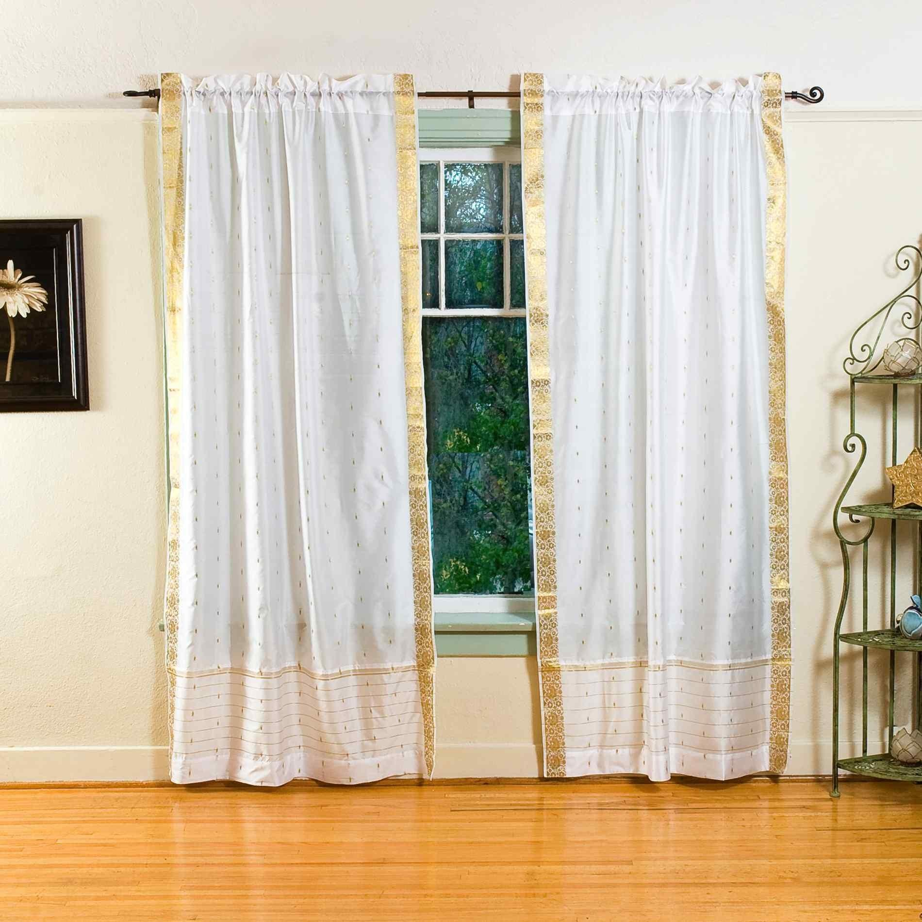 Photos Pair White India Sari Sheer Curtain Drape Panel