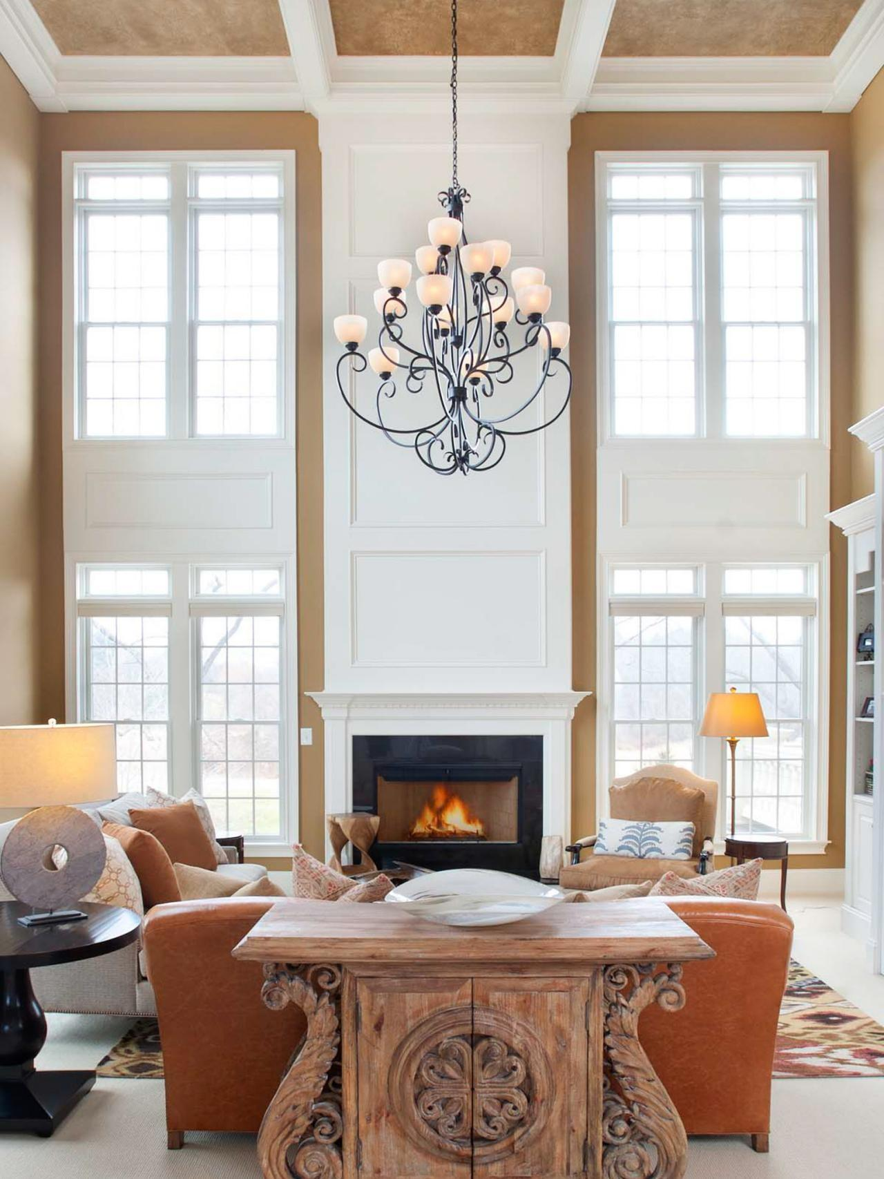 Photos Transitional Neutral Two Story Living Room