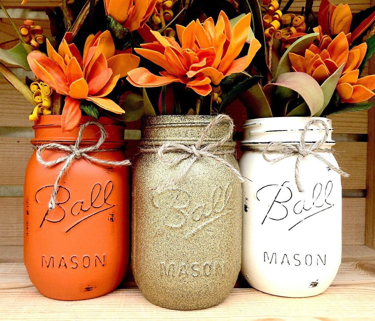 Pick Mason Jar Trio Autumn Home Decor Fall