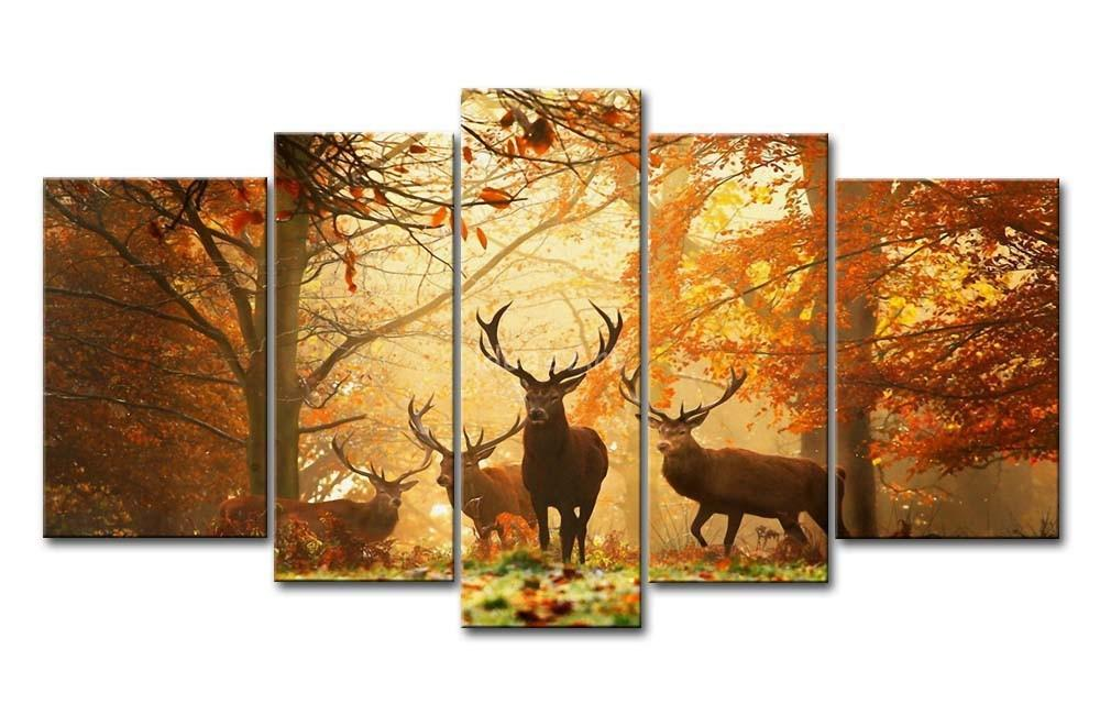 Piece Brown Wall Art Painting Deer Autumn Forest