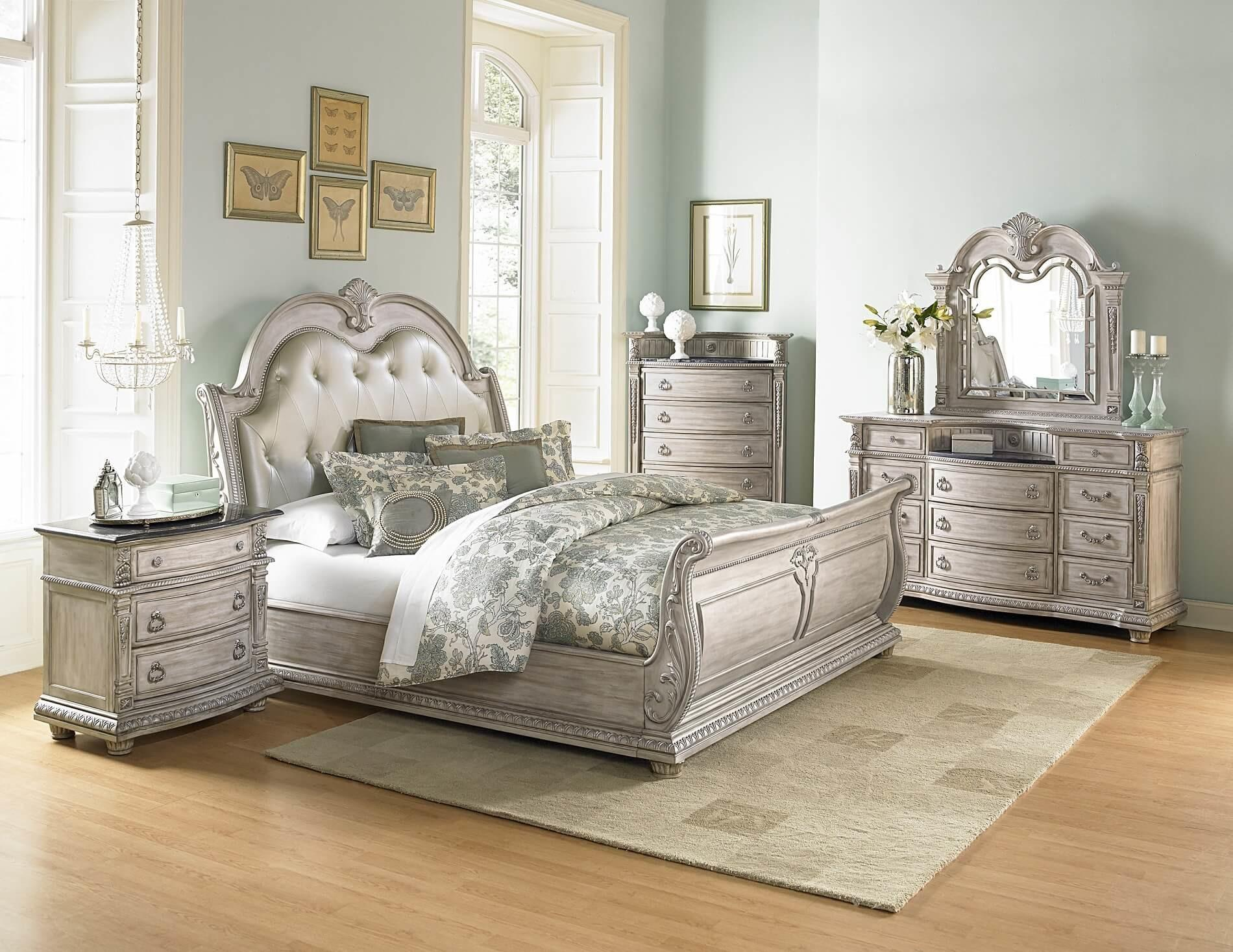 Piece Homelegance Palace White Wash Sleigh Bedroom Set
