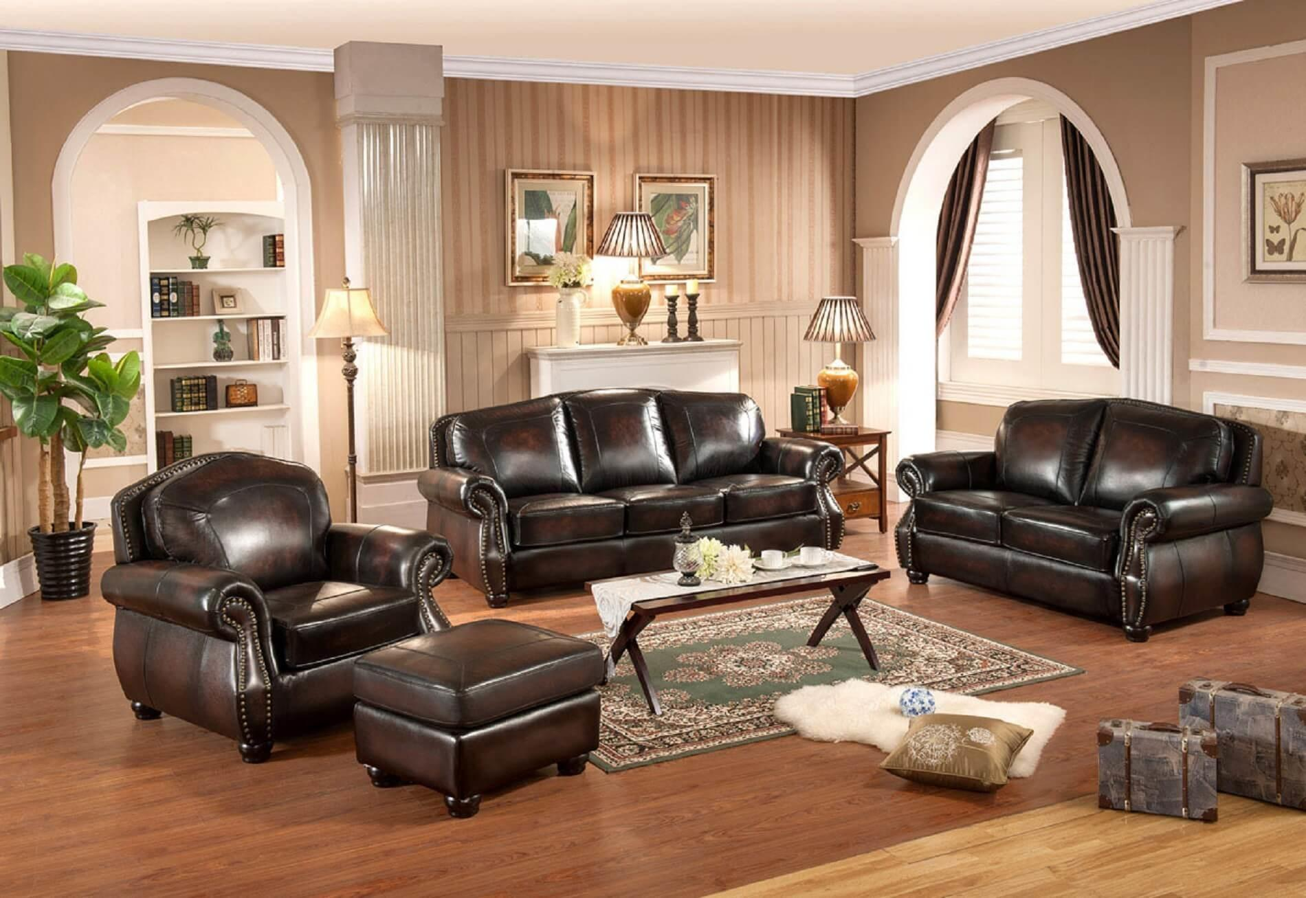 Piece Hyde Leather Traditional Sofa Set