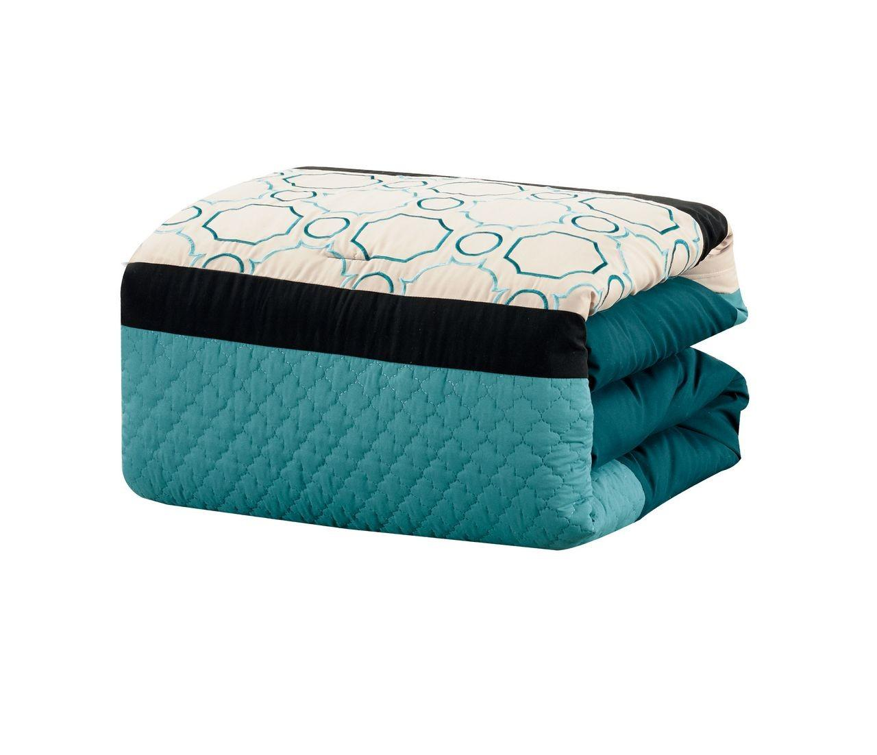 Piece Quilted Geometric Embroidered Bed Bag