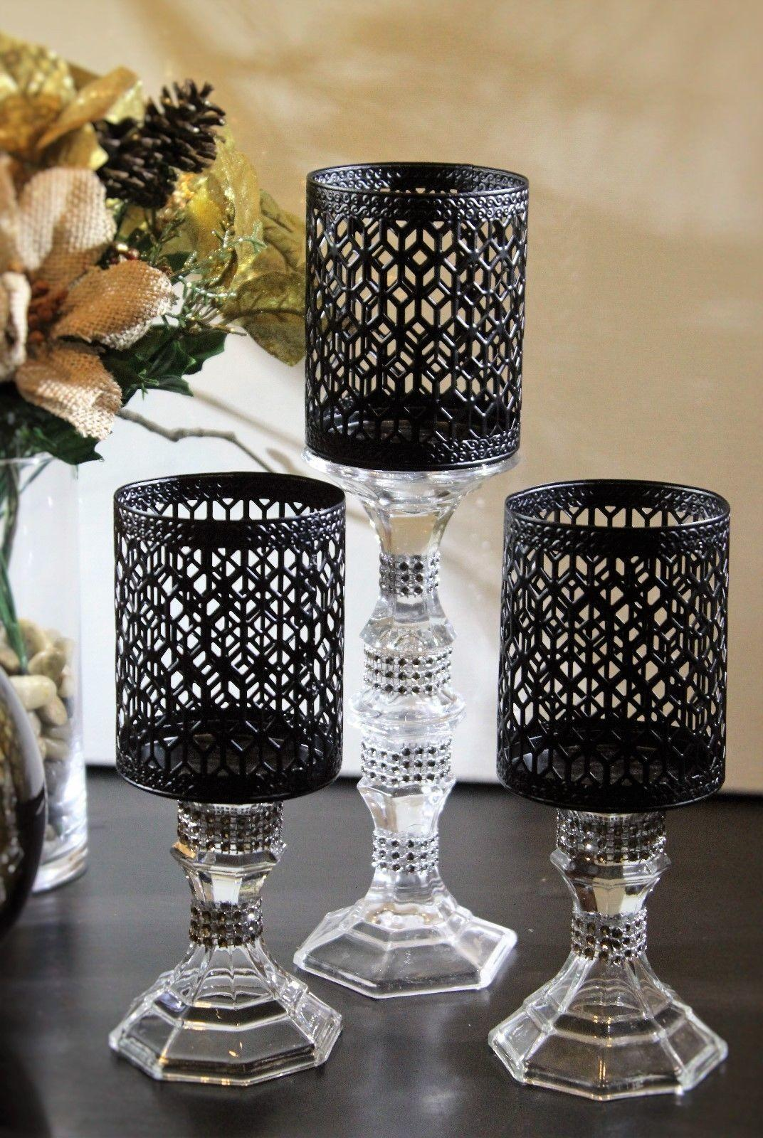 Piece Tall Pair Candle Stick Holders Glass Set Solid