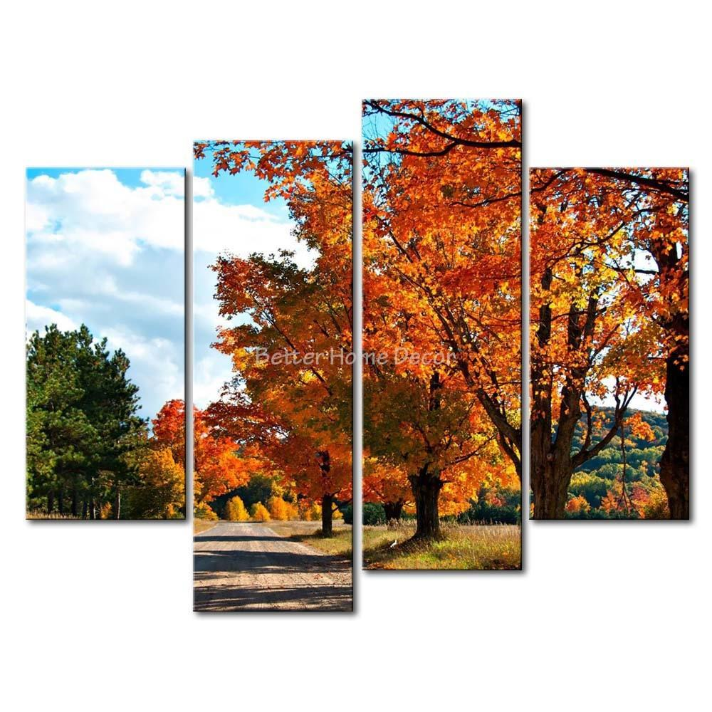 Piece Wall Art Painting Country Road Autumn Two Side