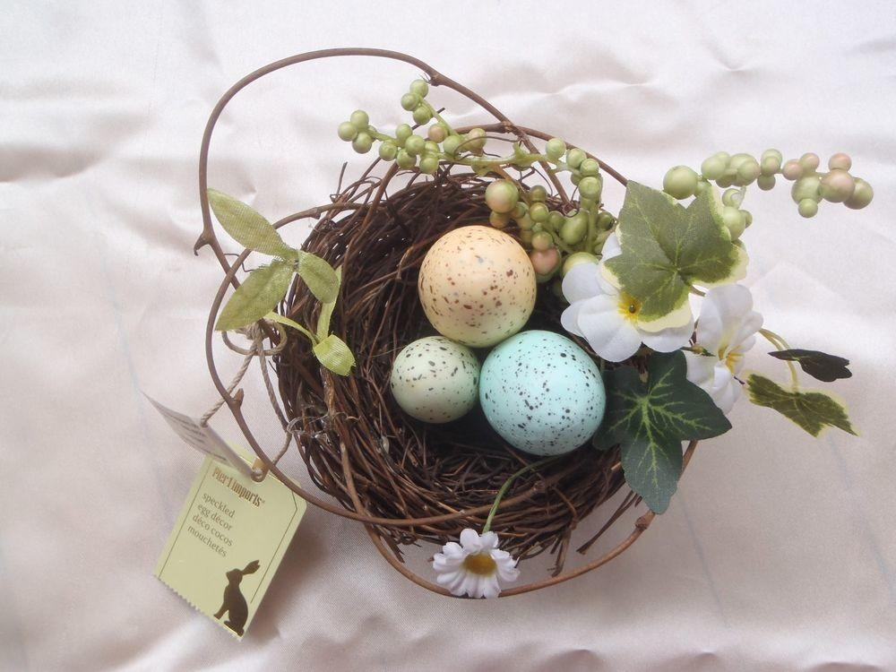 Pier One Imports Easter Decor Speckled Eggs Bird