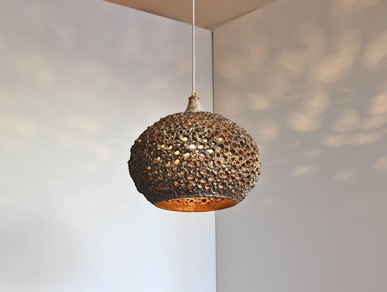 Pierced Ceramic Pendant Light Sejer Pottery 1stdibs