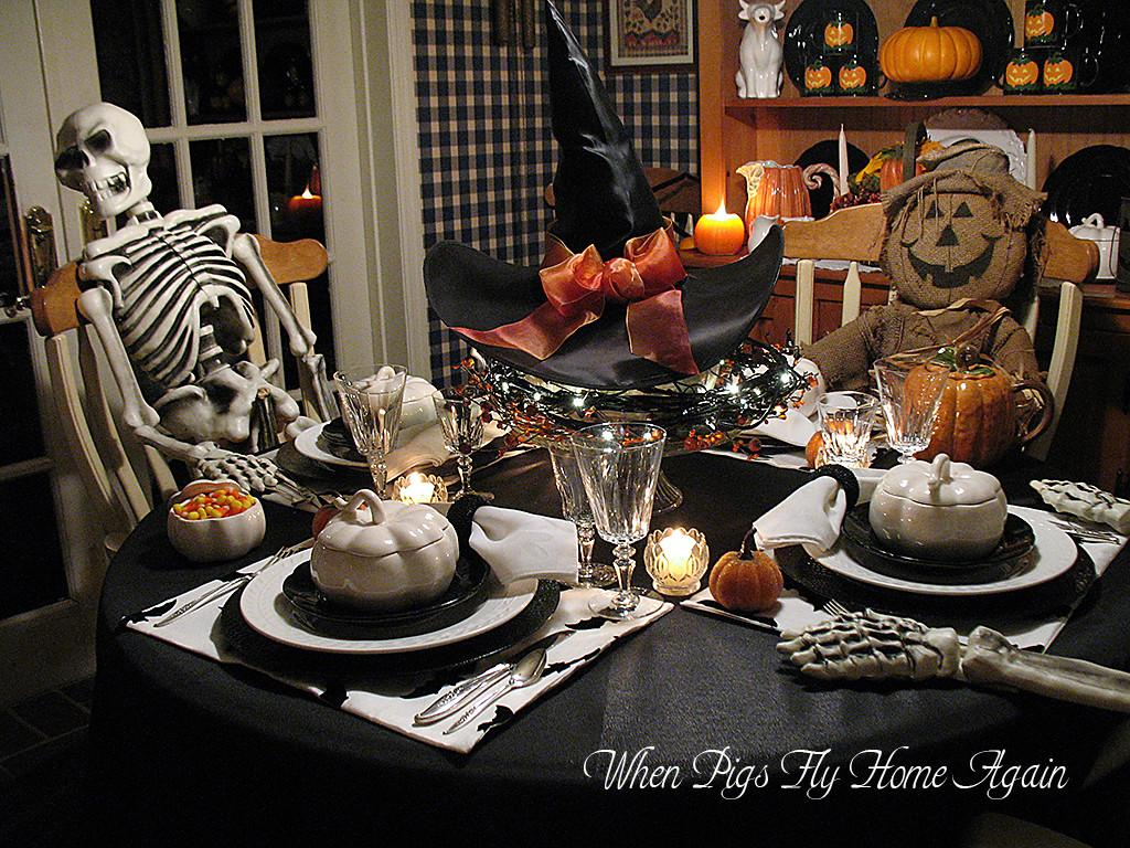 Pigs Fly Home Again Halloween Tablescape Past