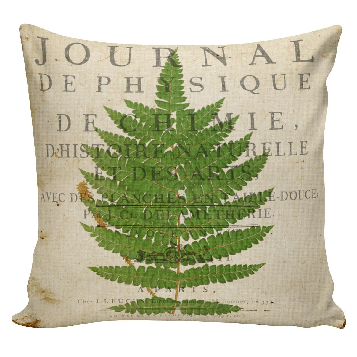 Pillow Cover Spring Throw Cushion Botanical Fern