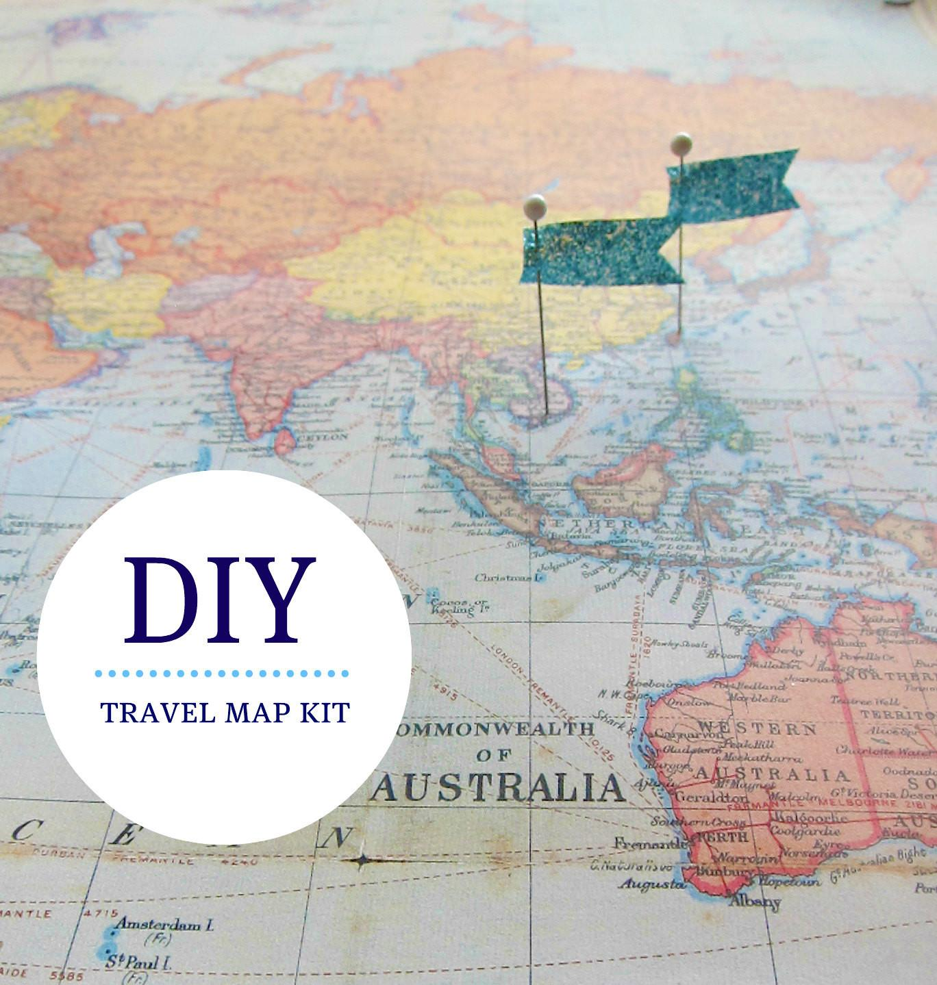 Pin Your Travels World Map Kit Ecomonster Etsy