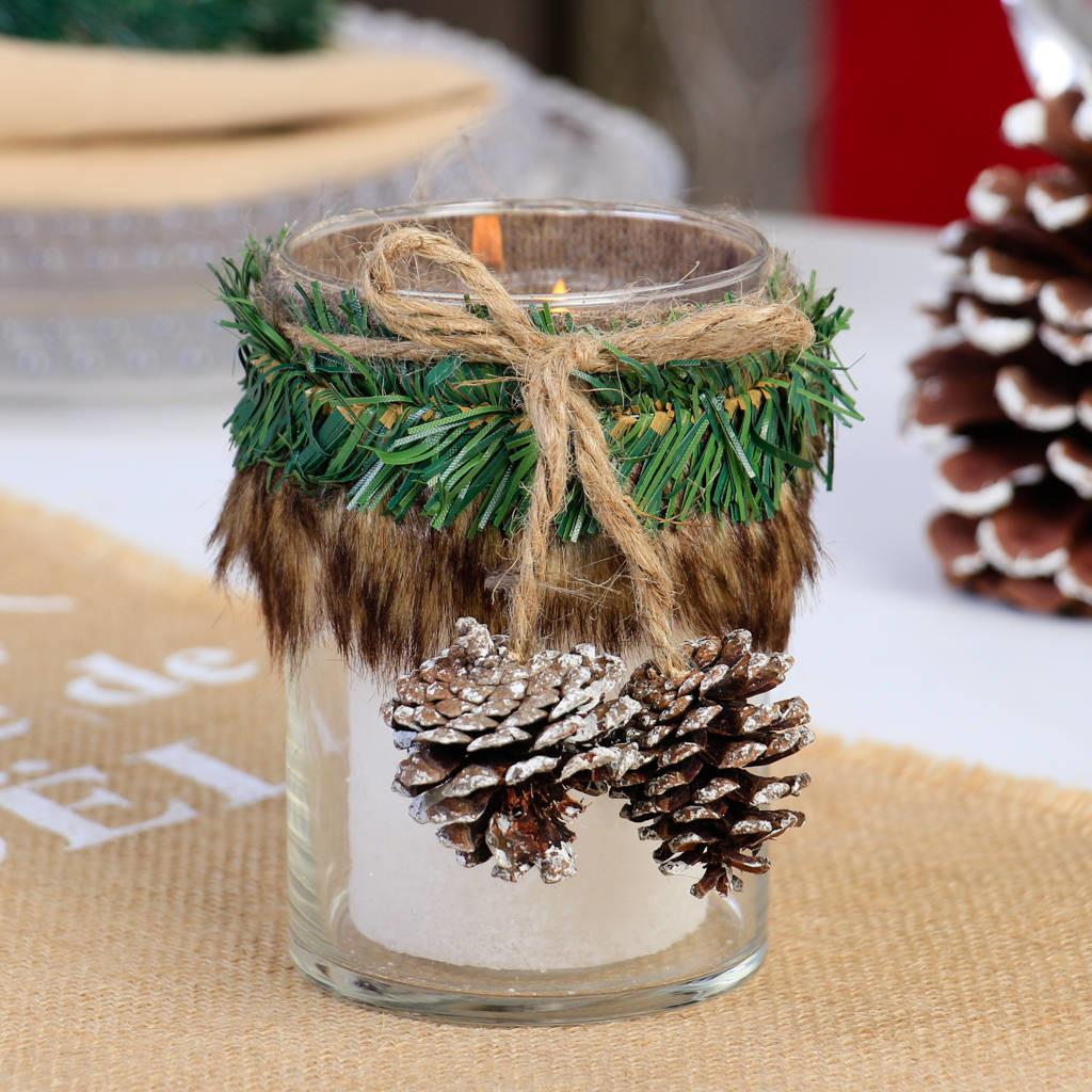 Pine Cone Faux Fur Christmas Candle Holder Dibor